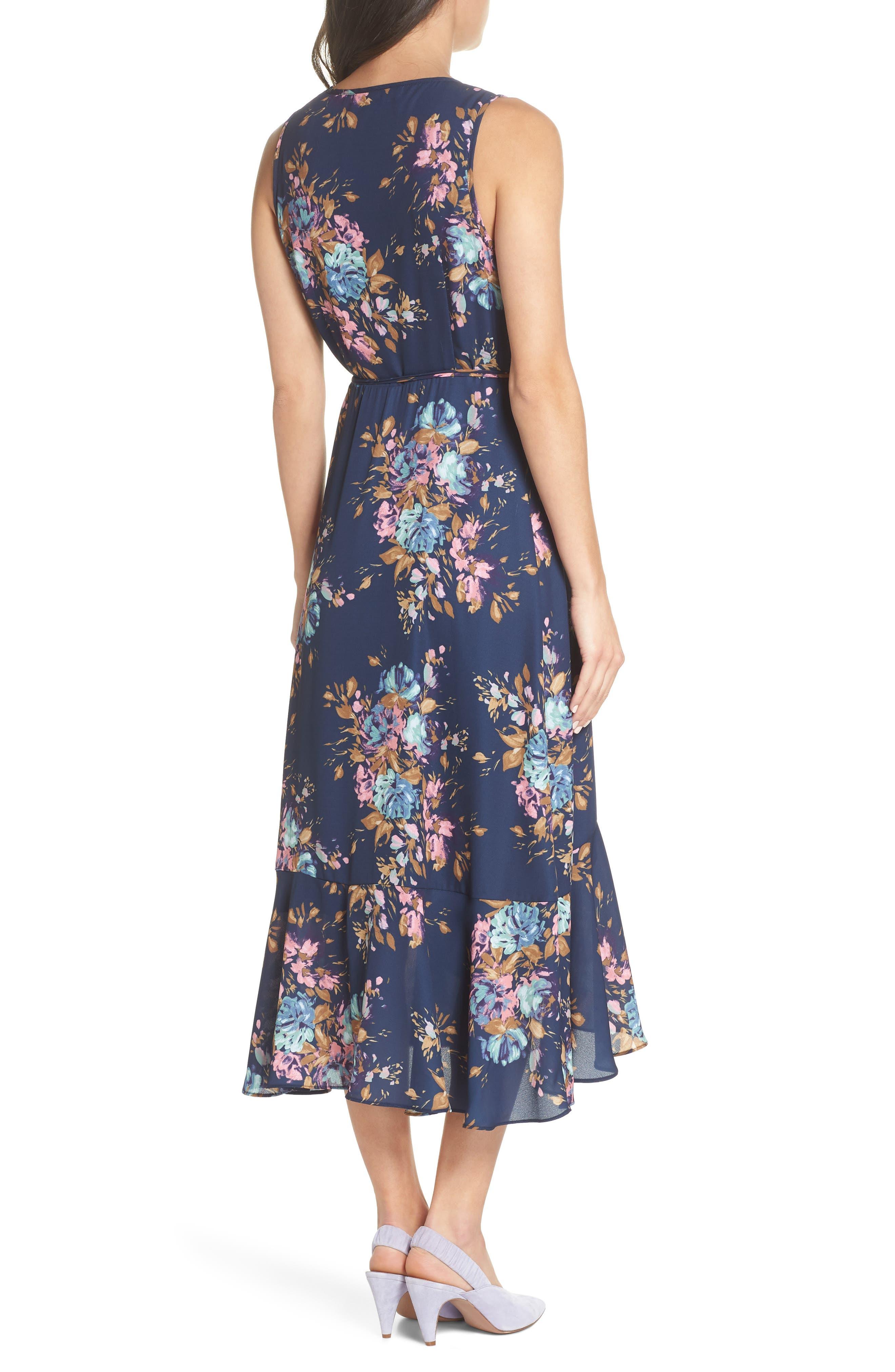 Floral Sleeveless Wrap Dress,                             Alternate thumbnail 2, color,                             Navy Floral