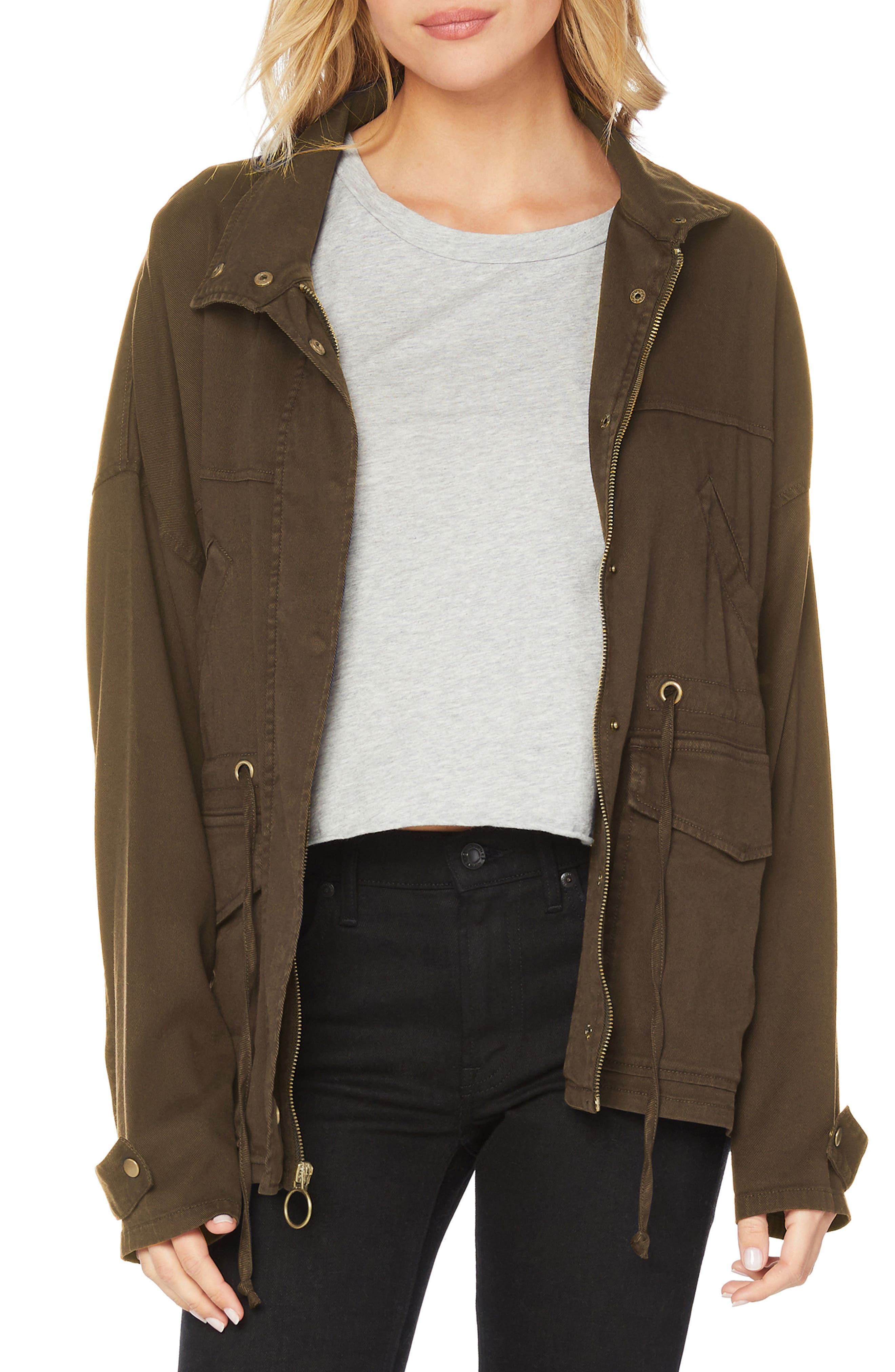 MICHAEL STARS Stretch Twill Military Jacket in Loden