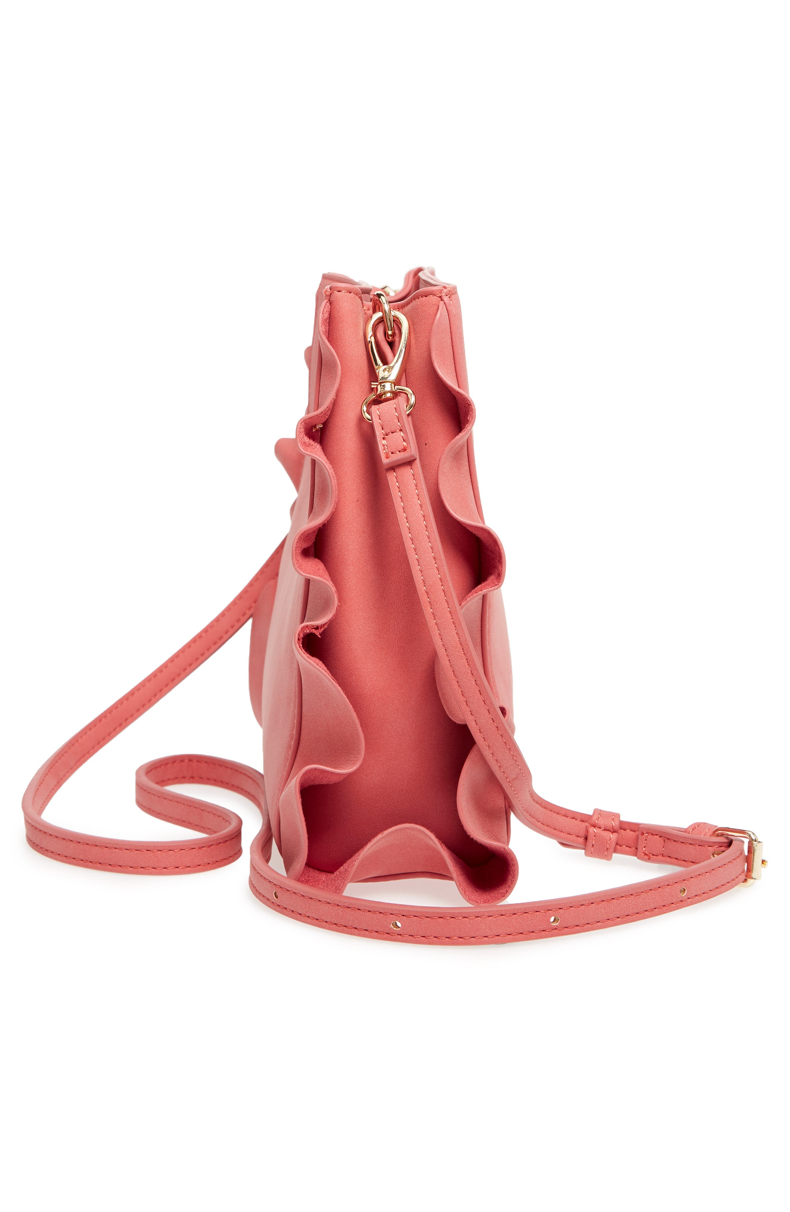 Faux Leather Crossbody Bag,                             Alternate thumbnail 5, color,                             Ginger Spice