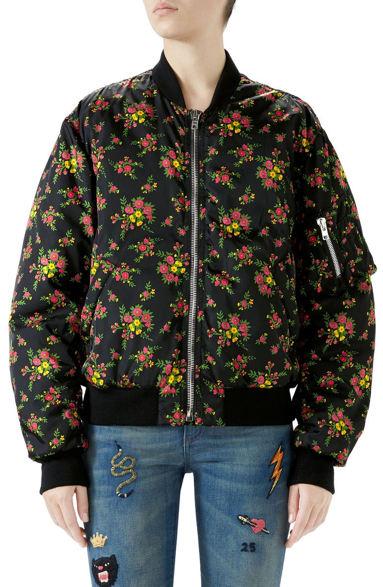 Floral Bouquets Print Bomber Jacket