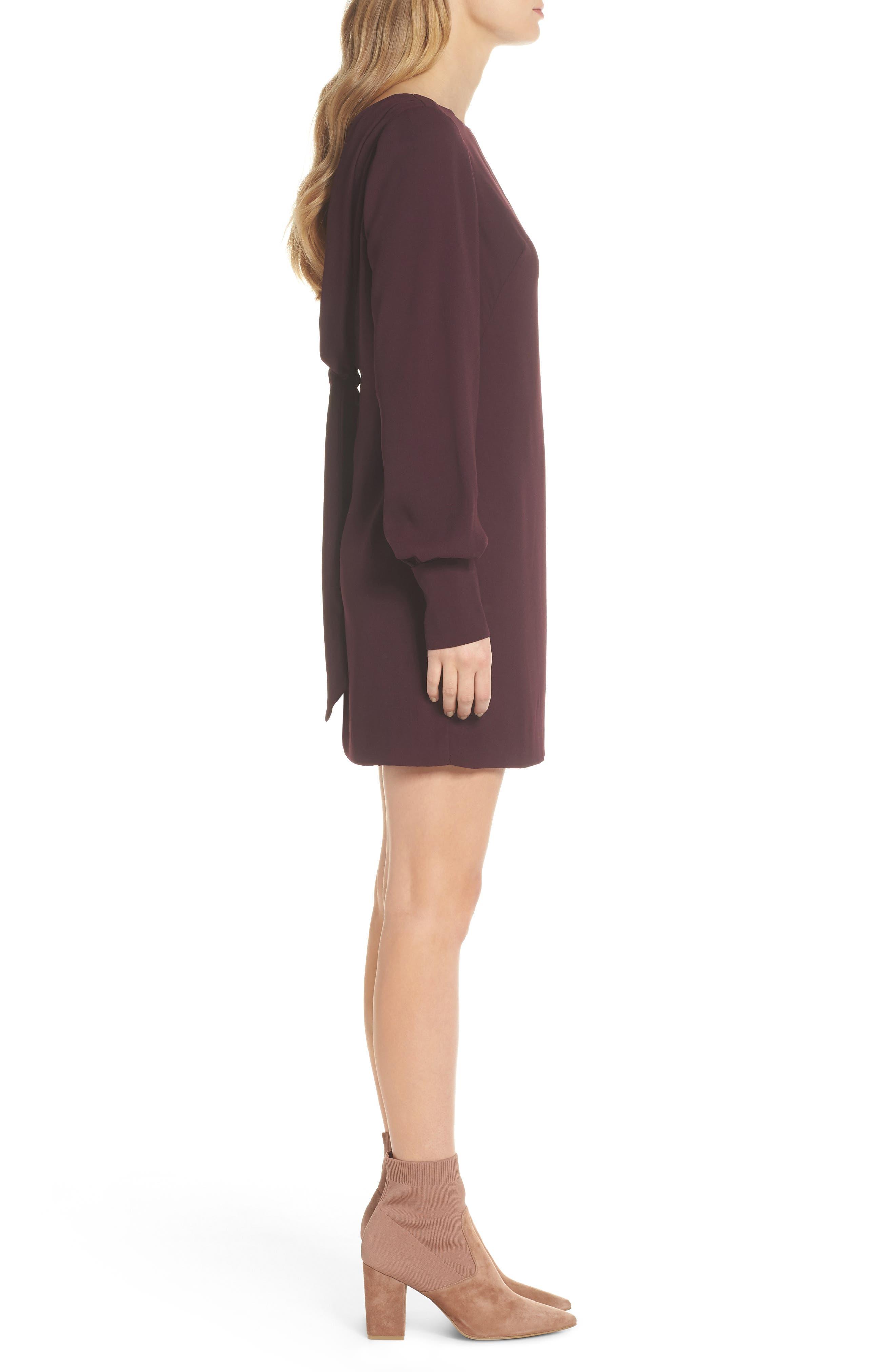 V-Back Shift Dress,                             Alternate thumbnail 4, color,                             Burgundy Stem