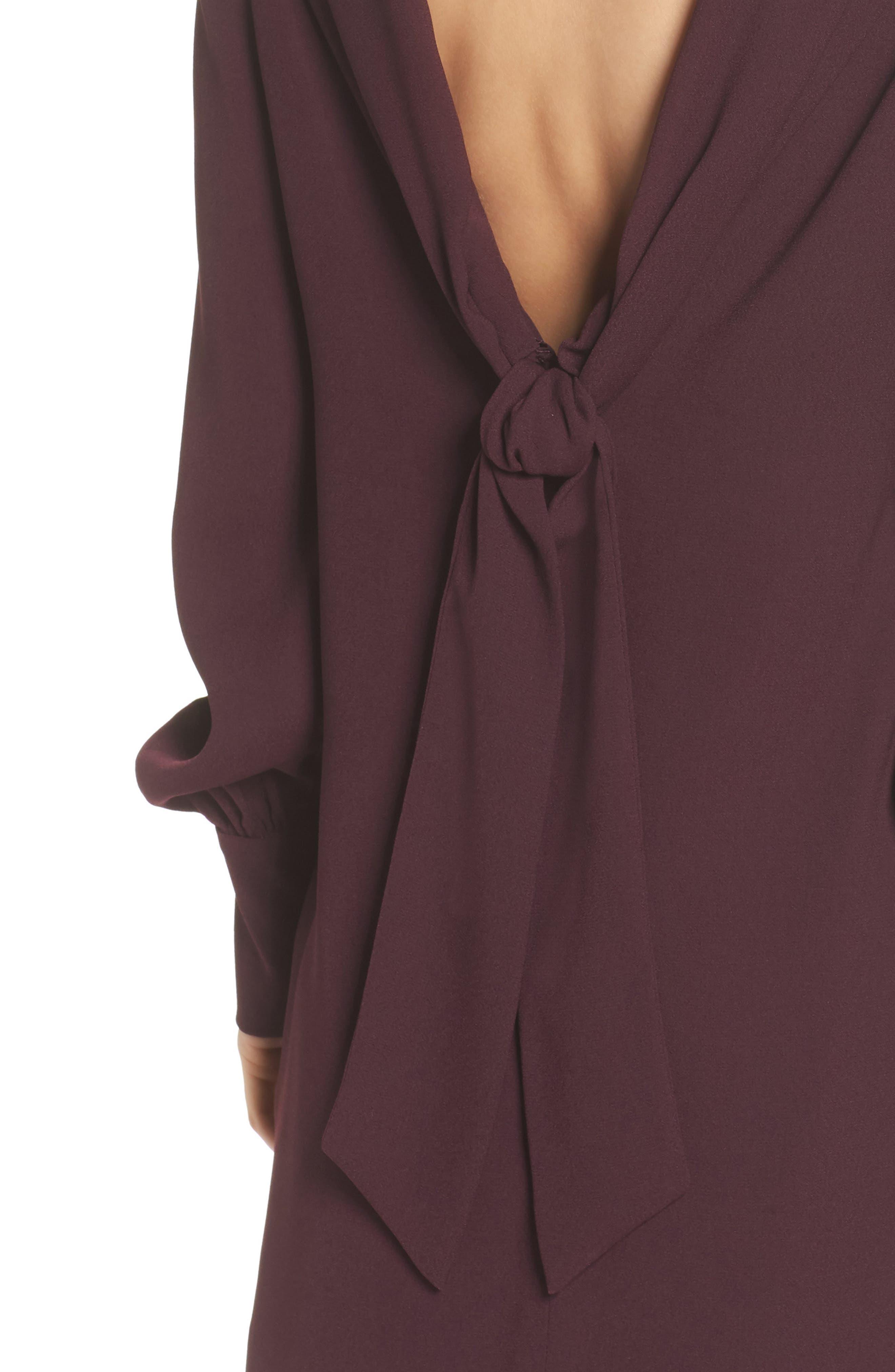 V-Back Shift Dress,                             Alternate thumbnail 6, color,                             Burgundy Stem