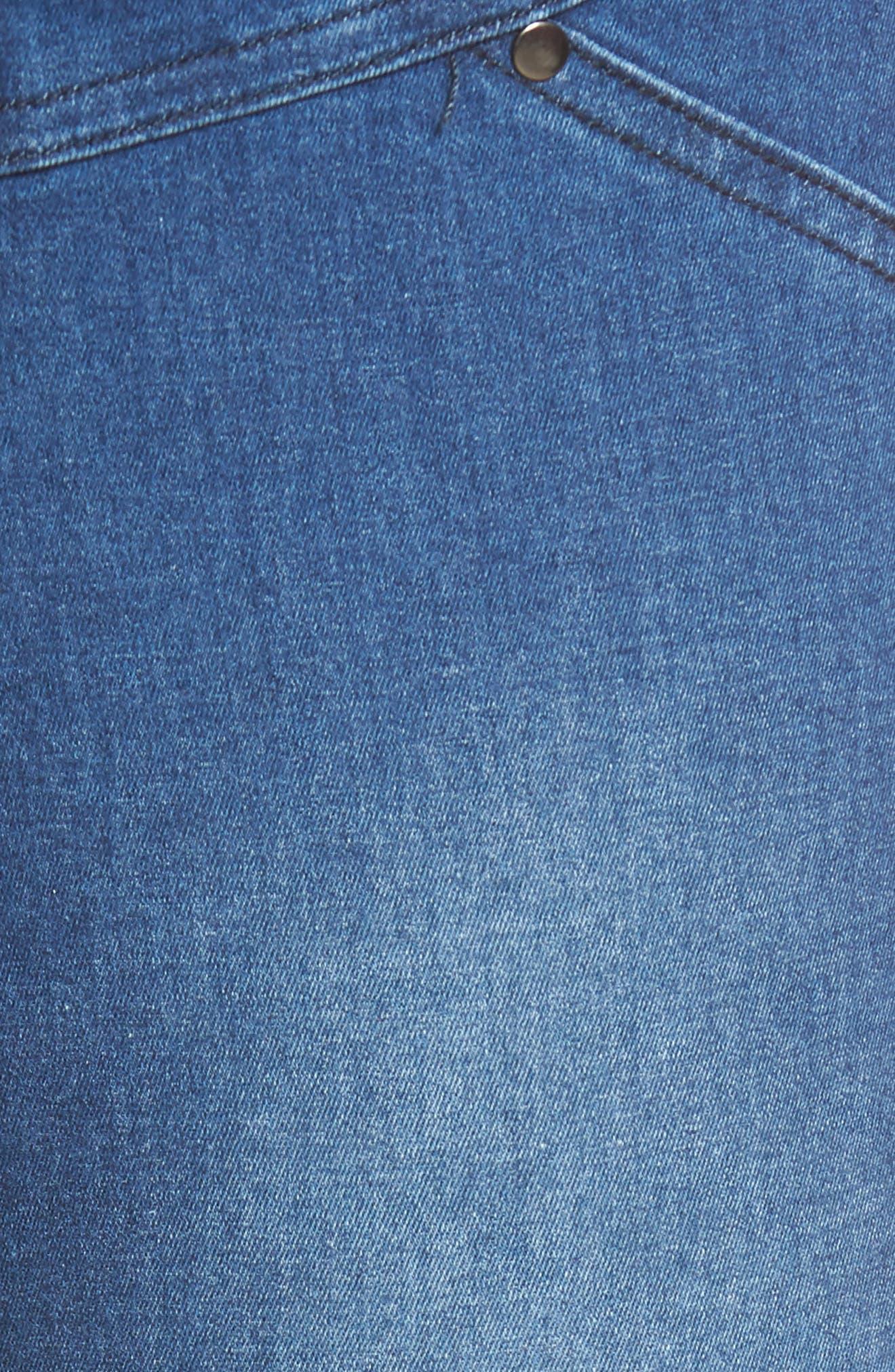 Bleached Raw Hem Denim Skimmer Leggings,                             Alternate thumbnail 5, color,                             Medium Wash