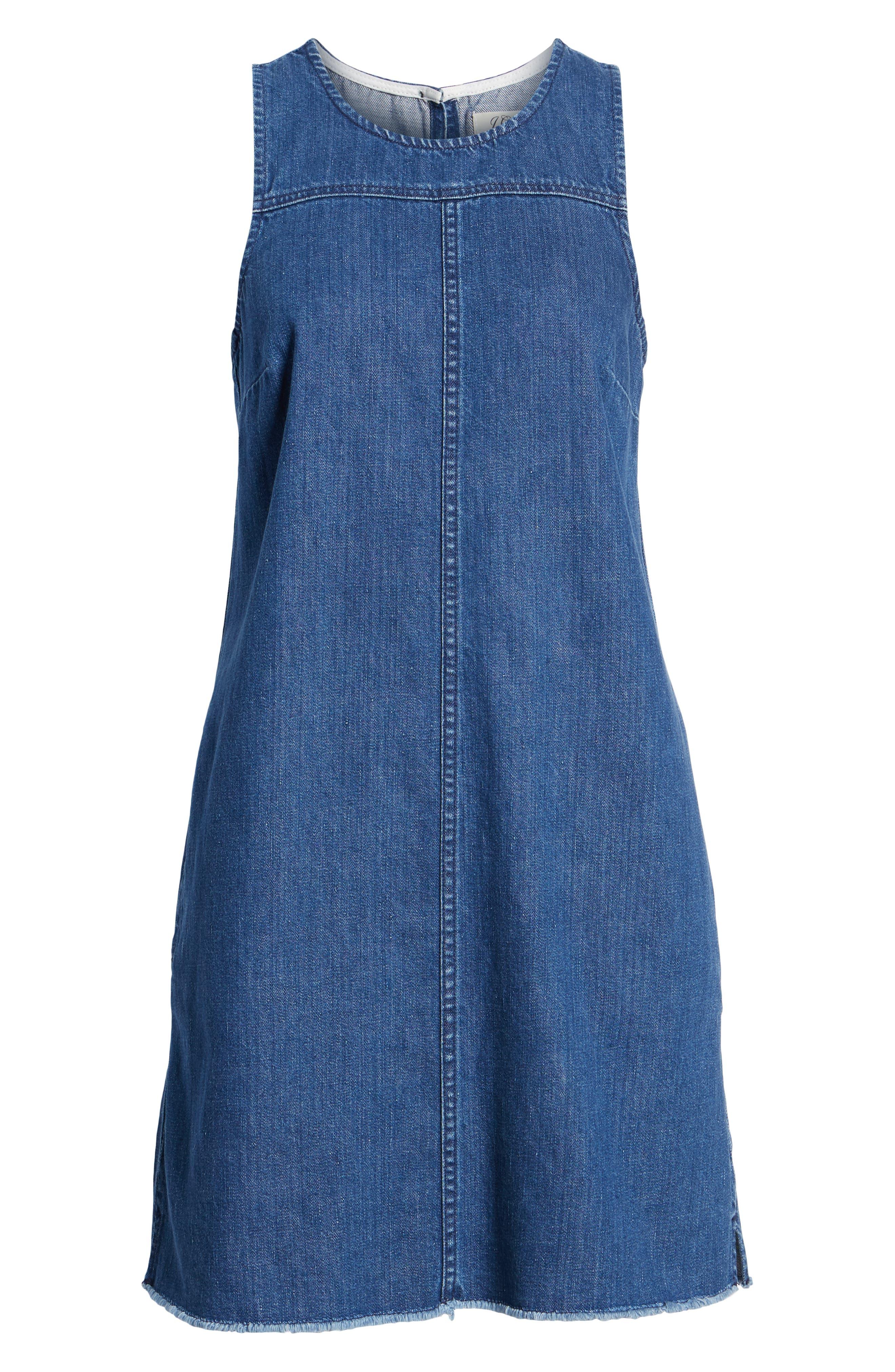 Raw Edge Hem Denim Shift Dress,                             Alternate thumbnail 6, color,                             York Wash