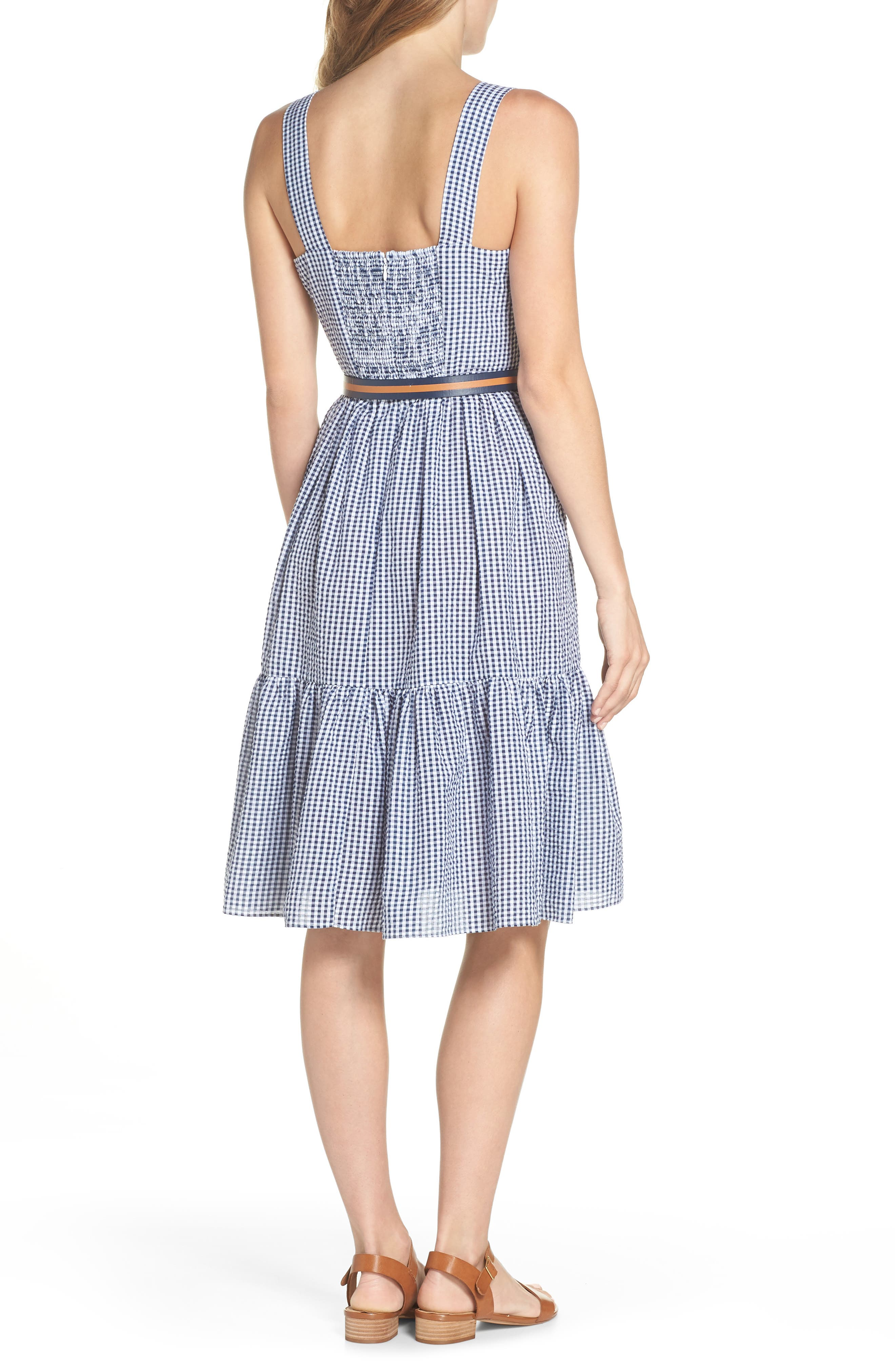 Ruffle Hem Seersucker Check Fit & Flare Dress,                             Alternate thumbnail 2, color,                             Navy/ Ivory