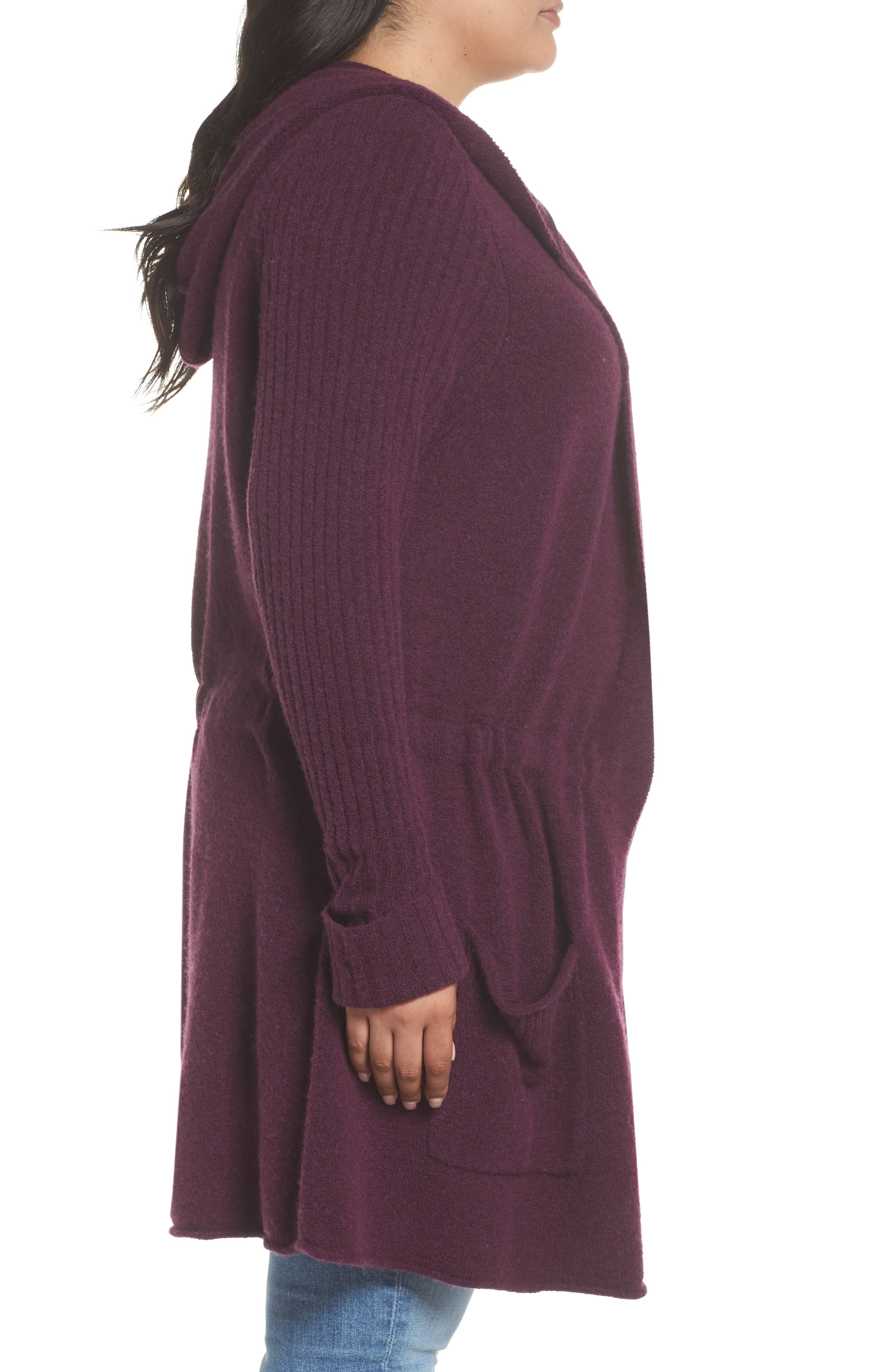 Hooded Cardigan,                             Alternate thumbnail 4, color,                             Purple Potent