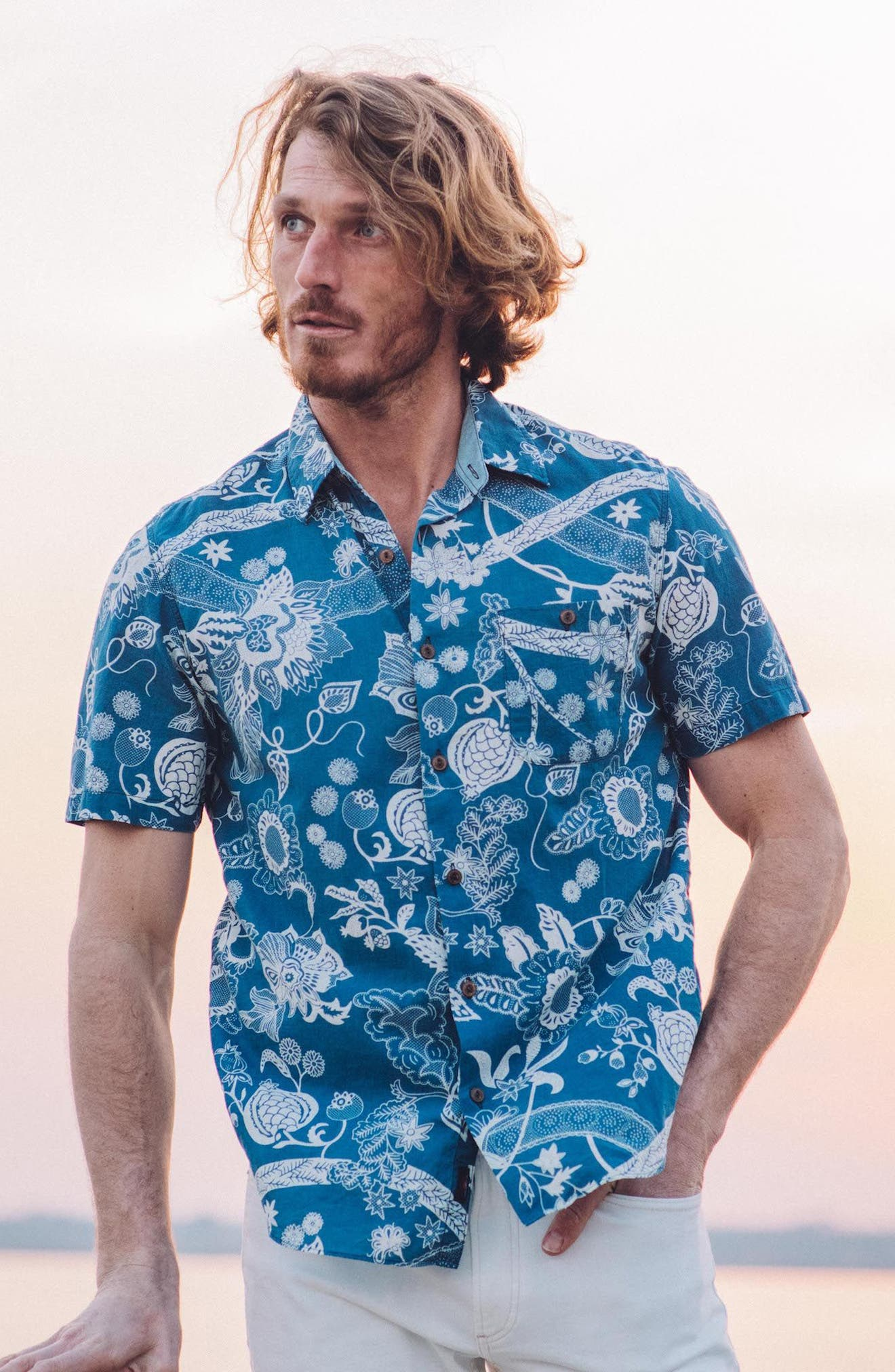 Coast Floral Sport Shirt,                             Alternate thumbnail 7, color,                             Kenji Floral