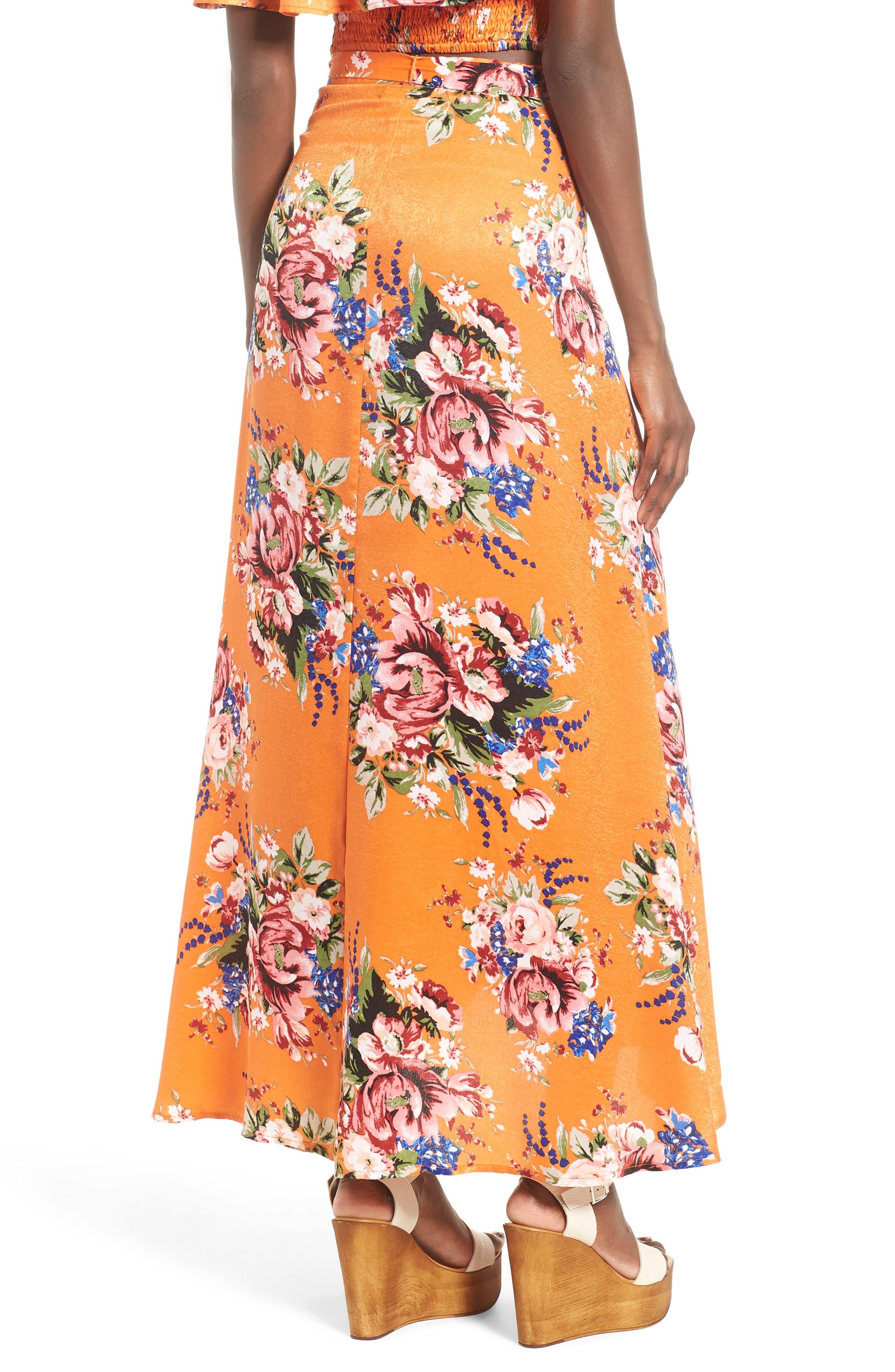 Zoey Satin Wrap Skirt,                             Alternate thumbnail 5, color,                             Orange Rose