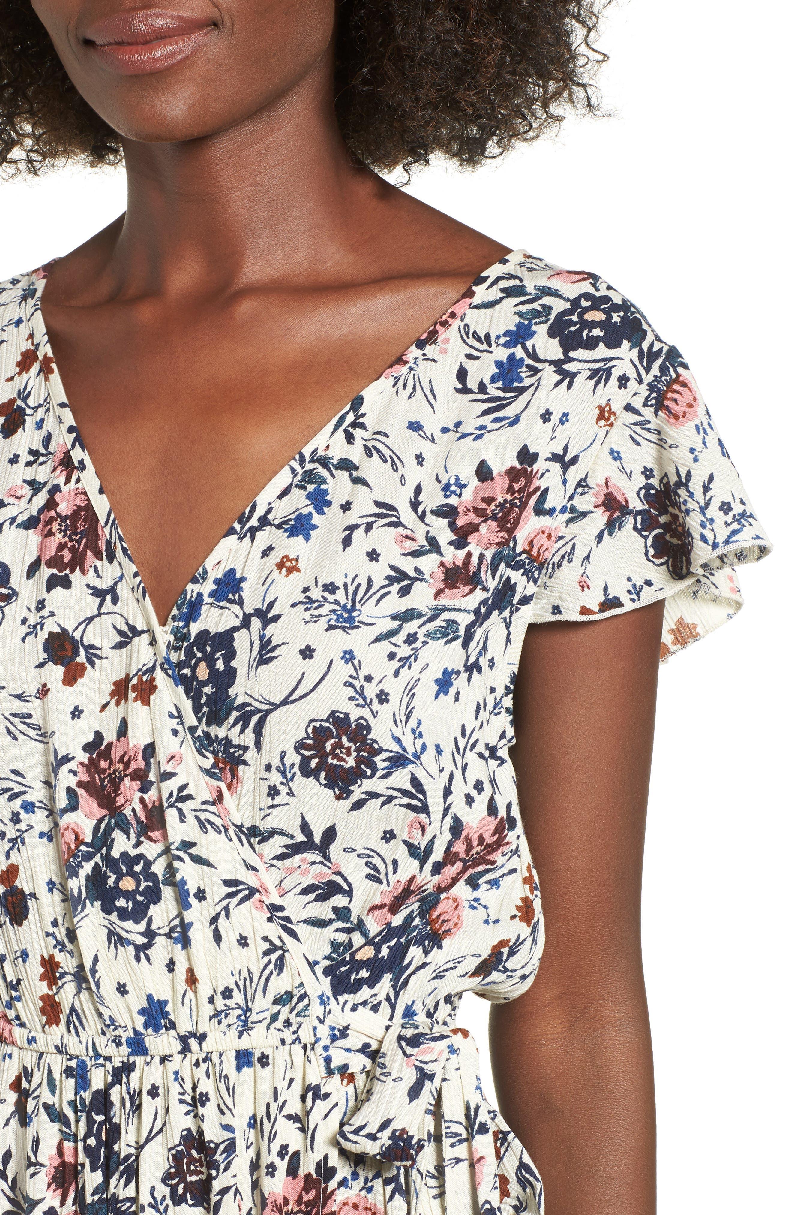 Floral Maxi Dress,                             Alternate thumbnail 6, color,                             Ivory Floral