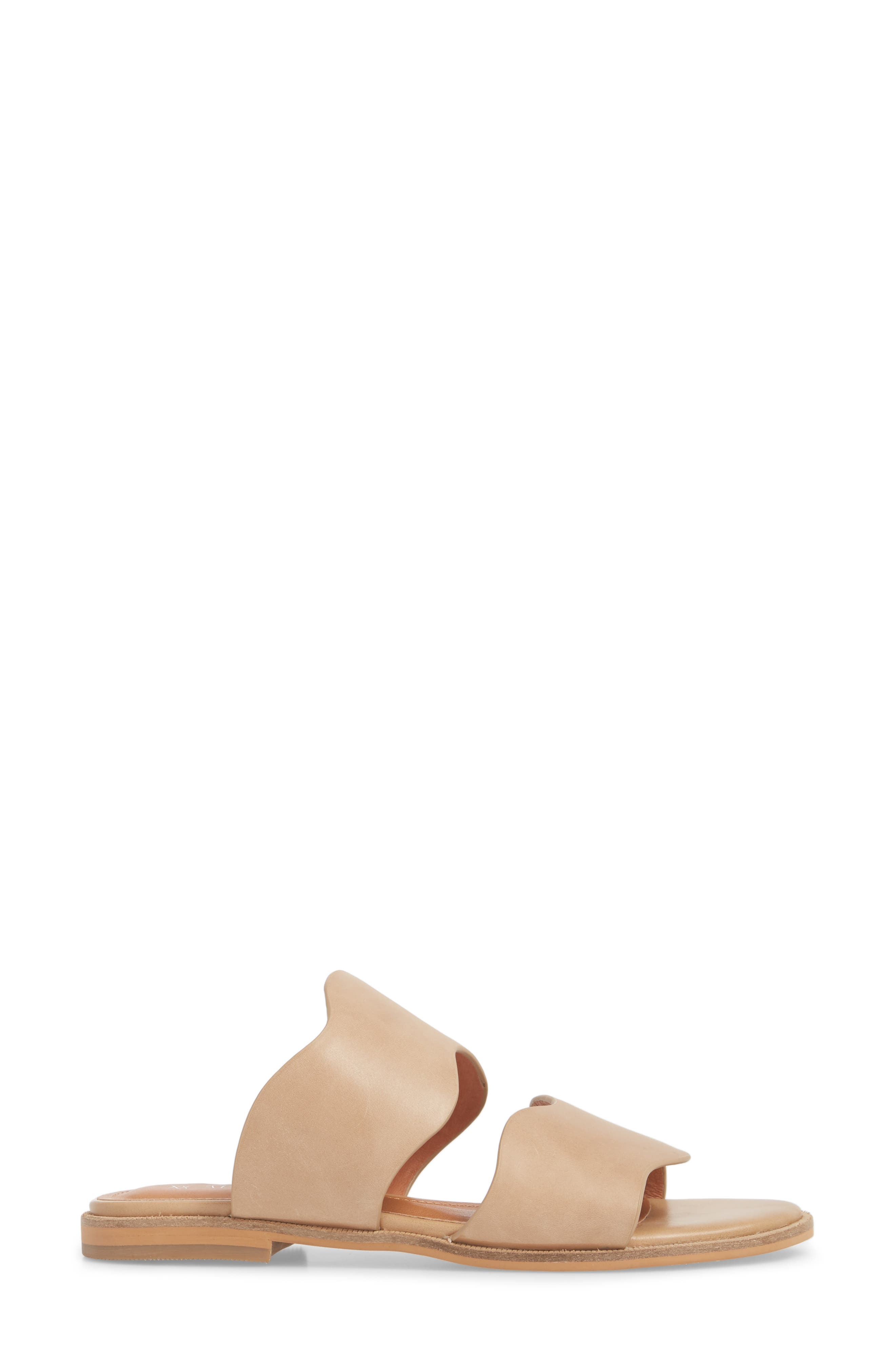 Thermos Scalloped Slide Sandal,                             Alternate thumbnail 3, color,                             Natural Leather