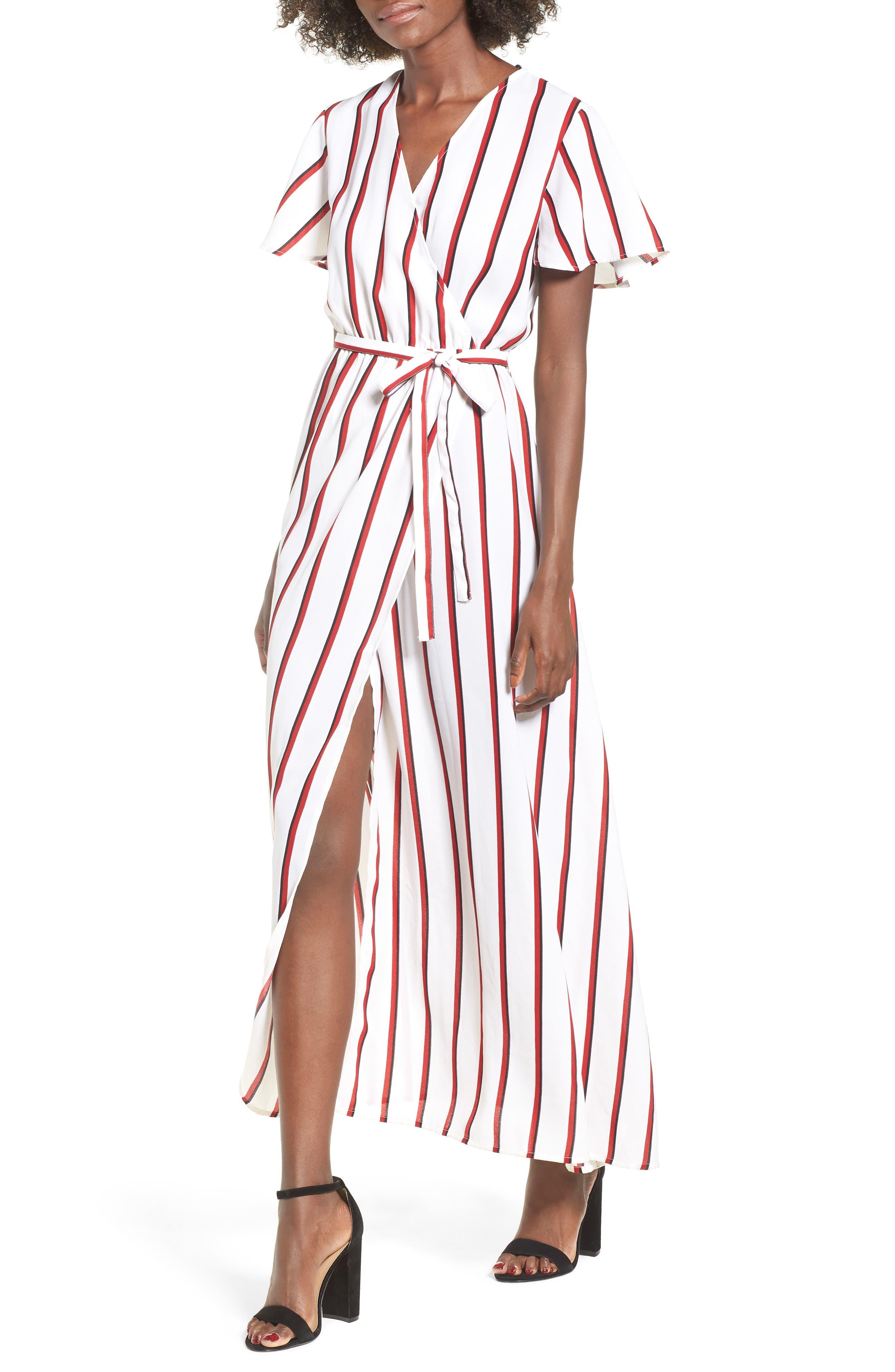 EZ Days Satin Wrap Maxi Dress,                         Main,                         color, Chili Red