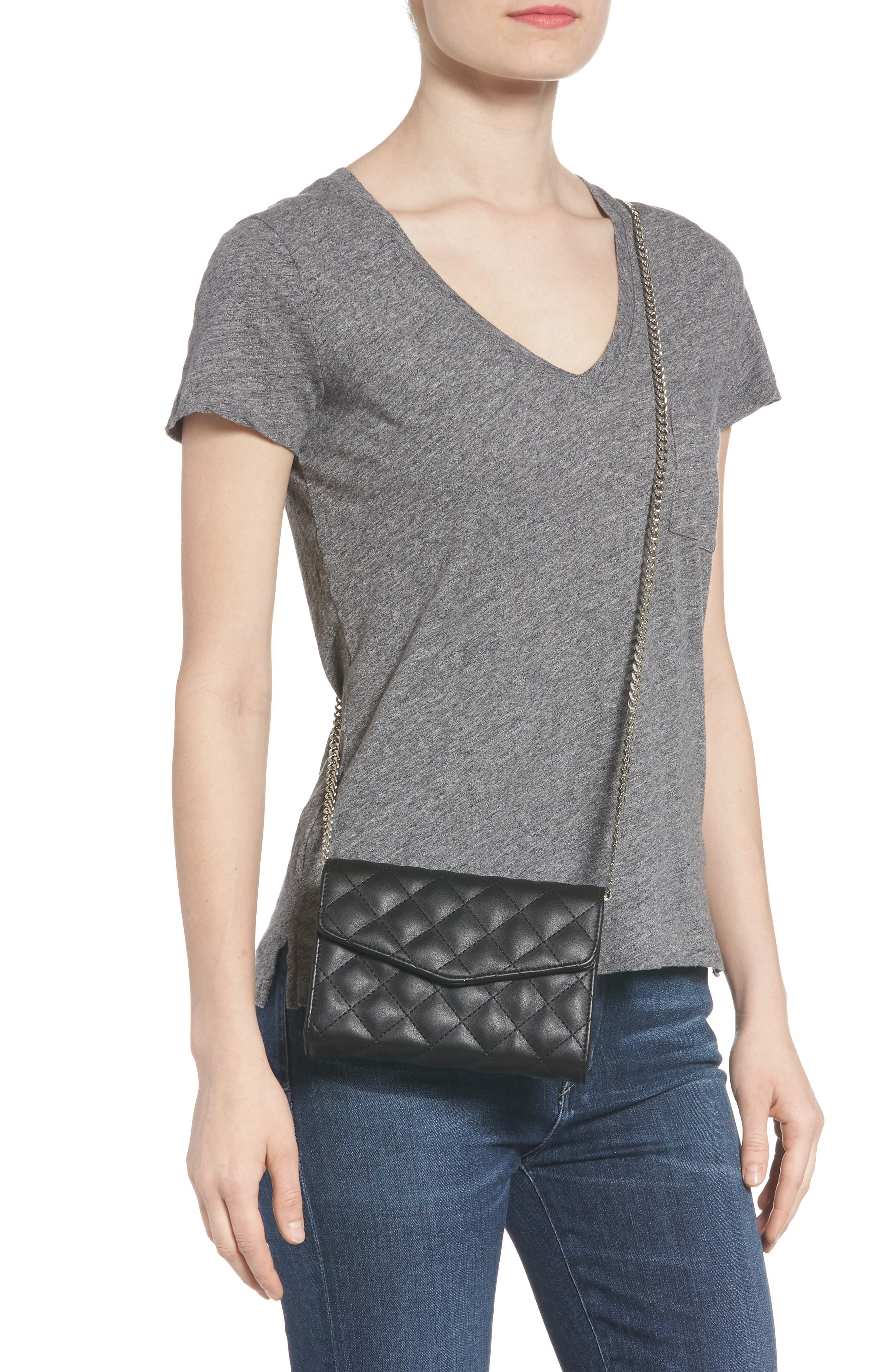 Quilted Bag with Crossbody Strap,                             Alternate thumbnail 2, color,                             Black