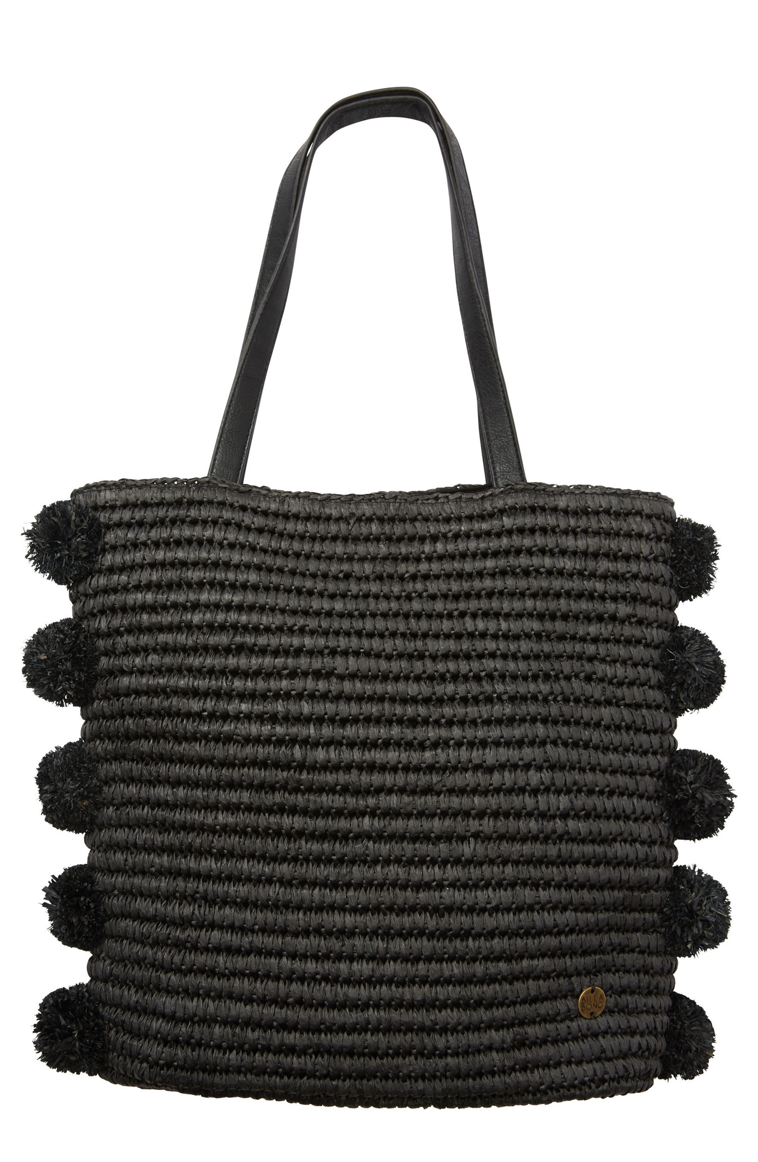 Palms Up Woven Bag,                         Main,                         color, Black