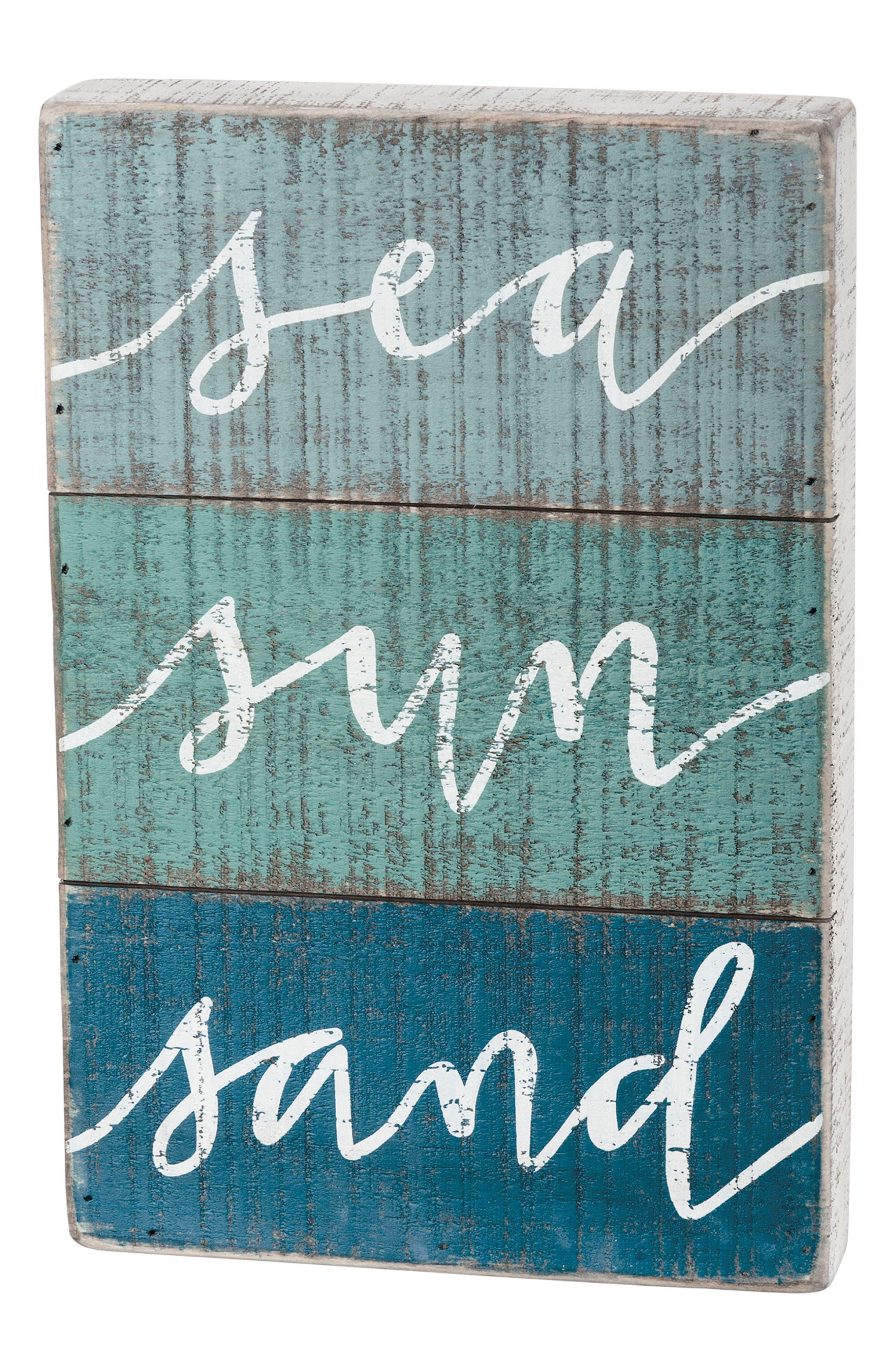 Sea Sun Sand Slat Box Sign,                             Main thumbnail 1, color,                             Blue