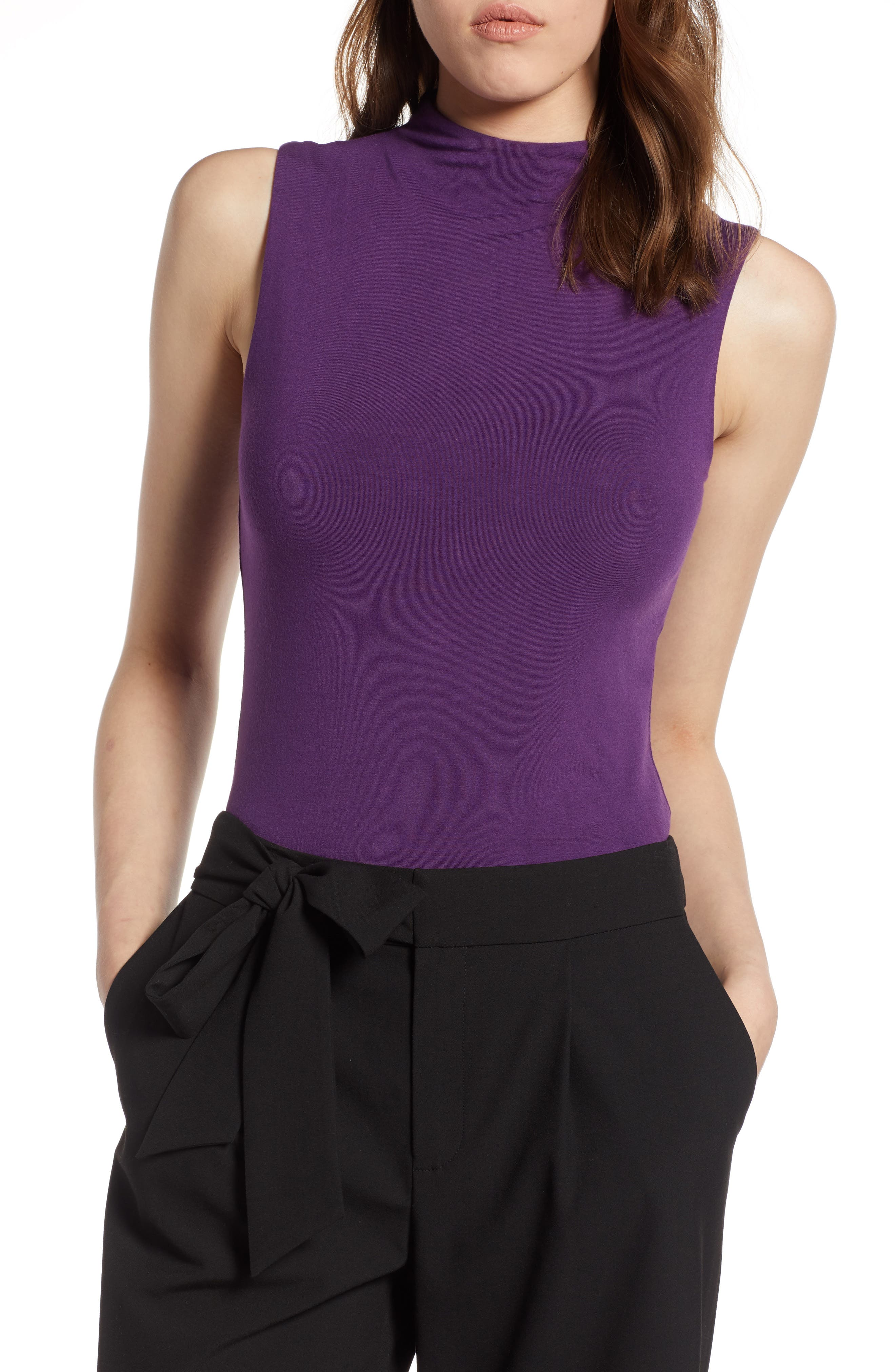 Jersey Funnel Neck Top,                             Main thumbnail 1, color,                             Purple Royal