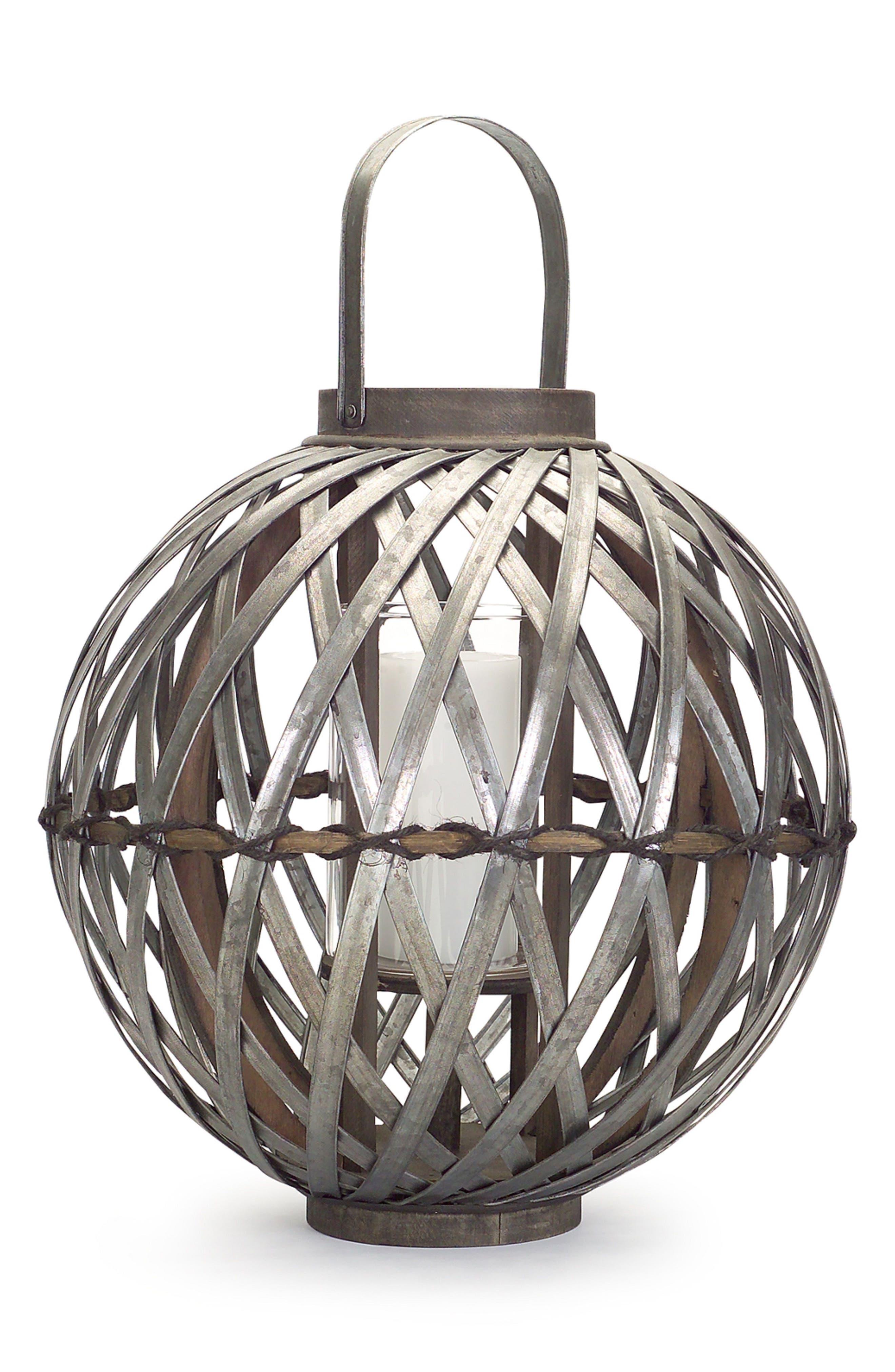Metal Work Lantern,                         Main,                         color, Brown