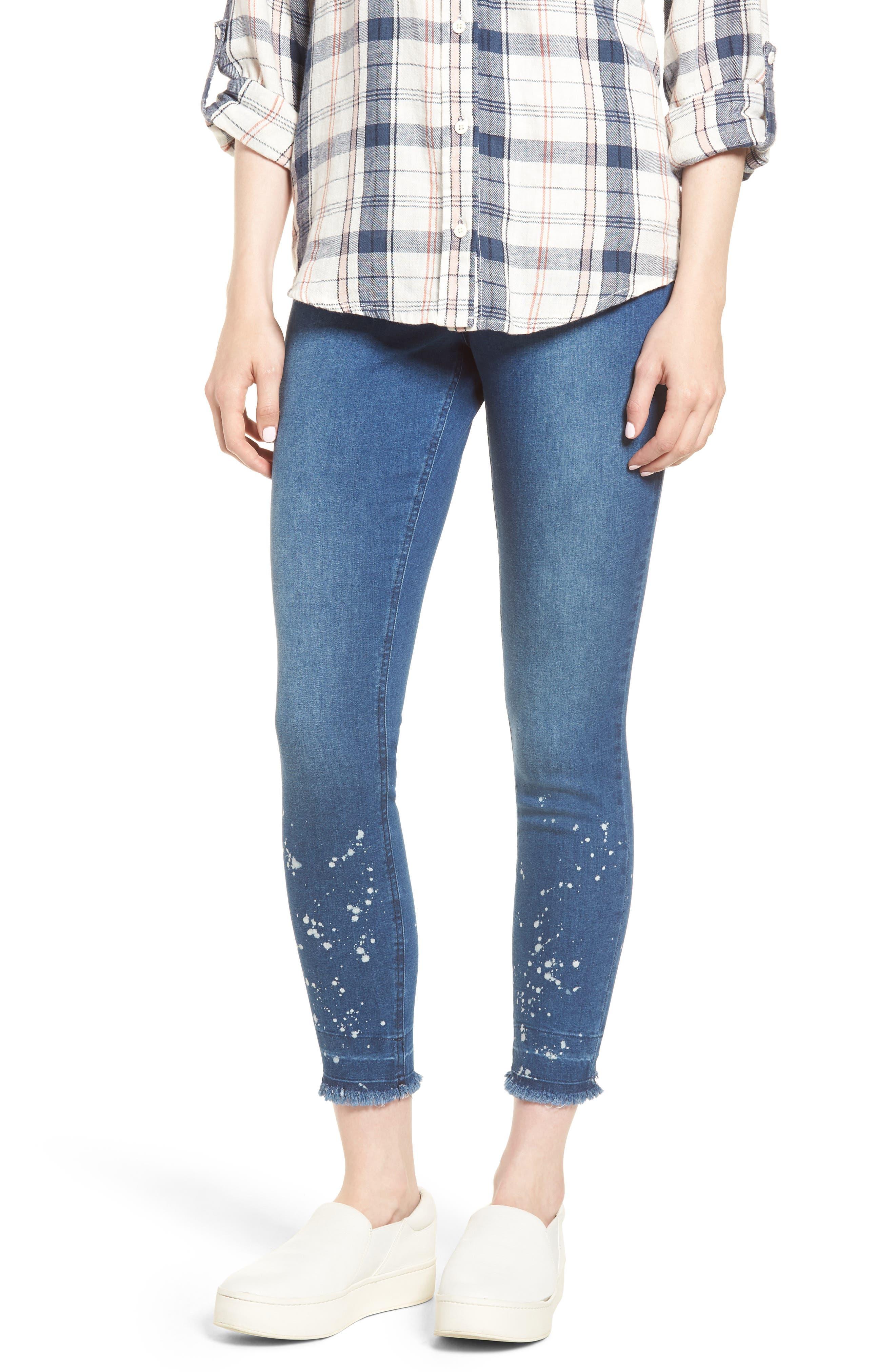 Bleached Raw Hem Denim Skimmer Leggings,                         Main,                         color, Medium Wash