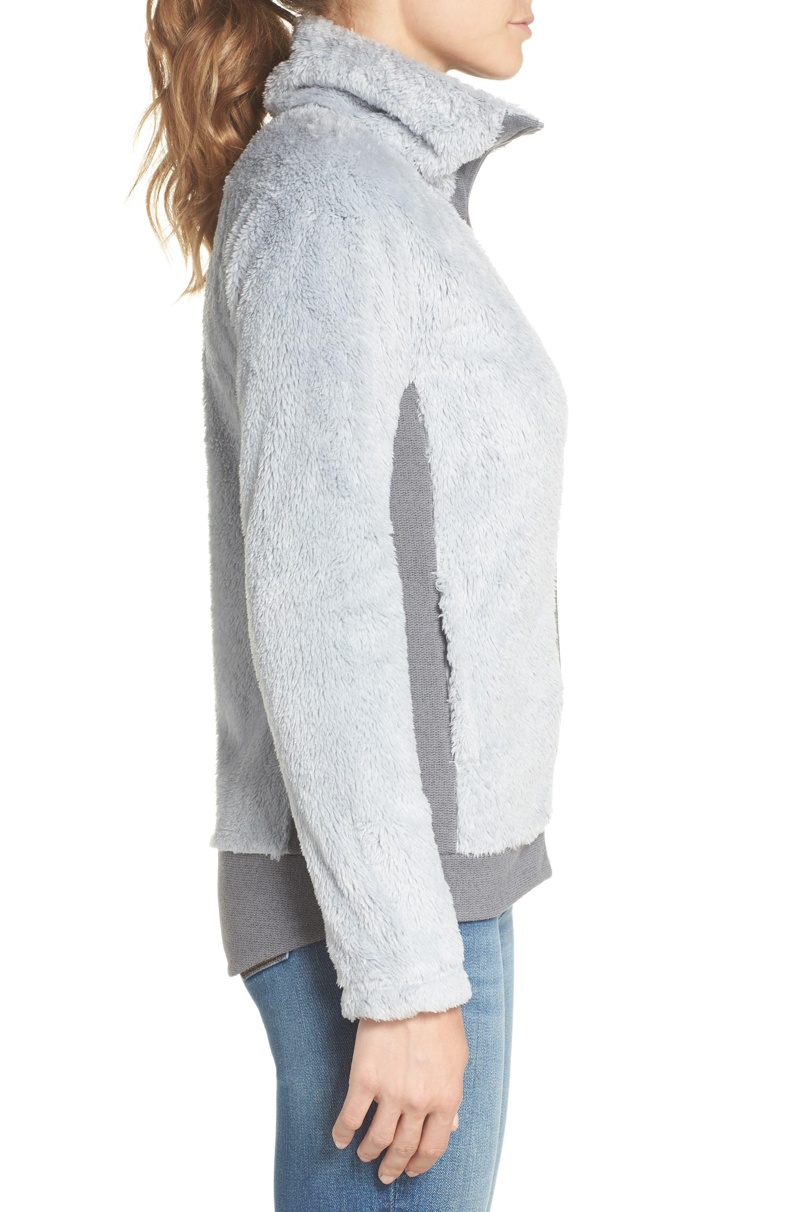 Furry Fleece Jacket,                             Alternate thumbnail 3, color,                             High Rise Grey