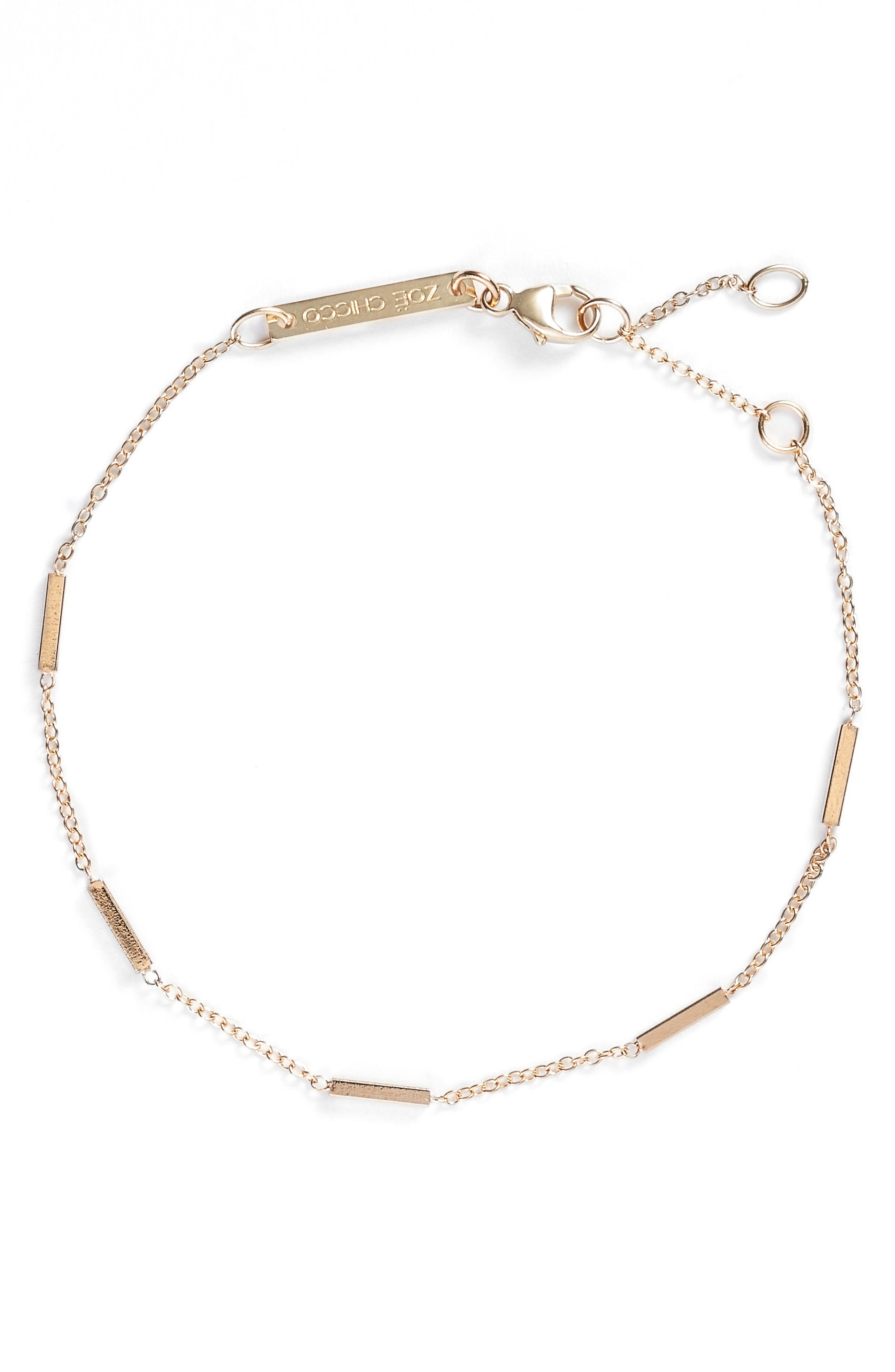 Zoë Chicco Tiny Bar Station 14K Gold Bracelet