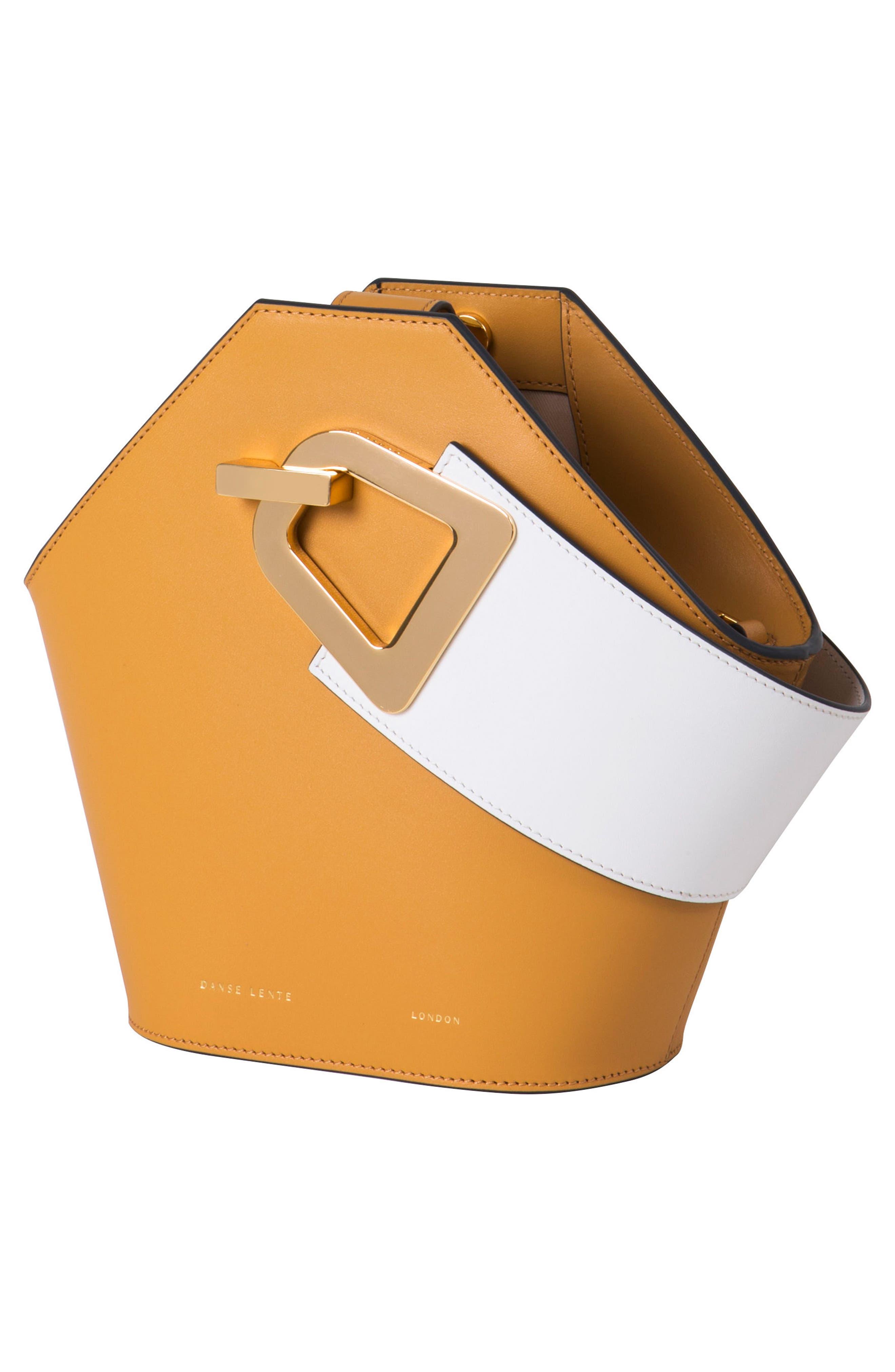 Mini Johnny Leather Bucket Bag,                             Alternate thumbnail 3, color,                             Sand
