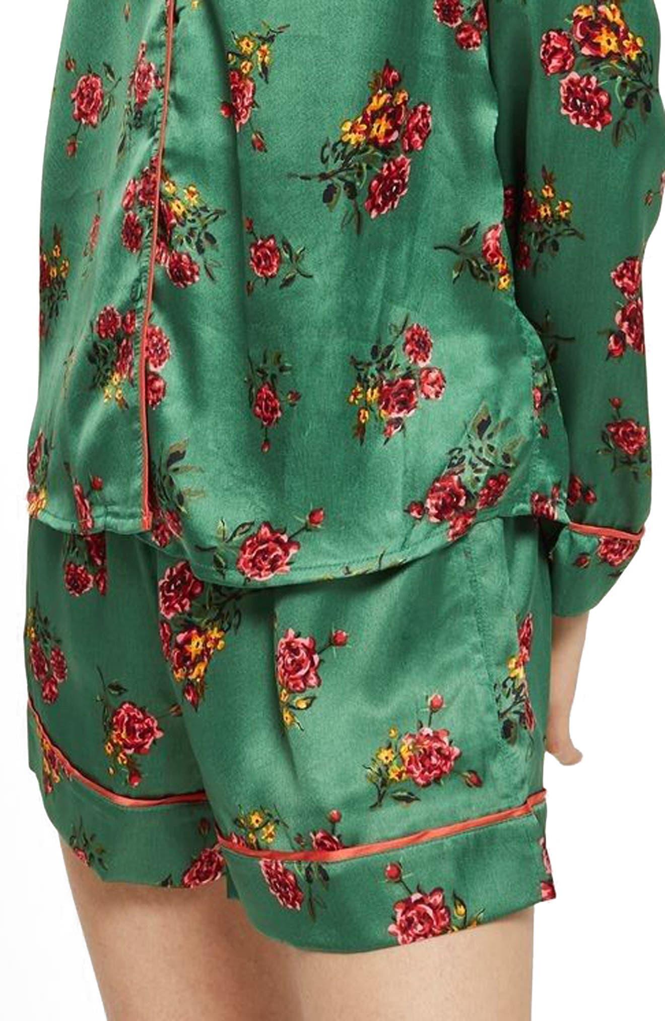 Floral Print Pajama Shorts,                             Main thumbnail 1, color,                             Bright Green Multi