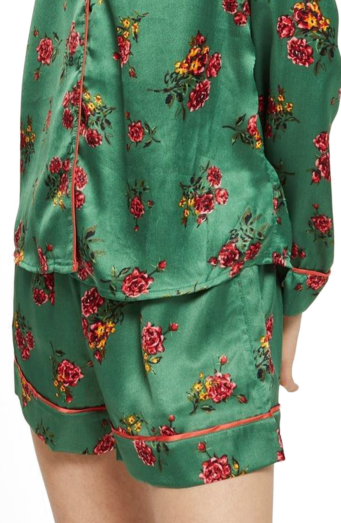 Floral Print Pajama Shorts,                         Main,                         color, Bright Green Multi