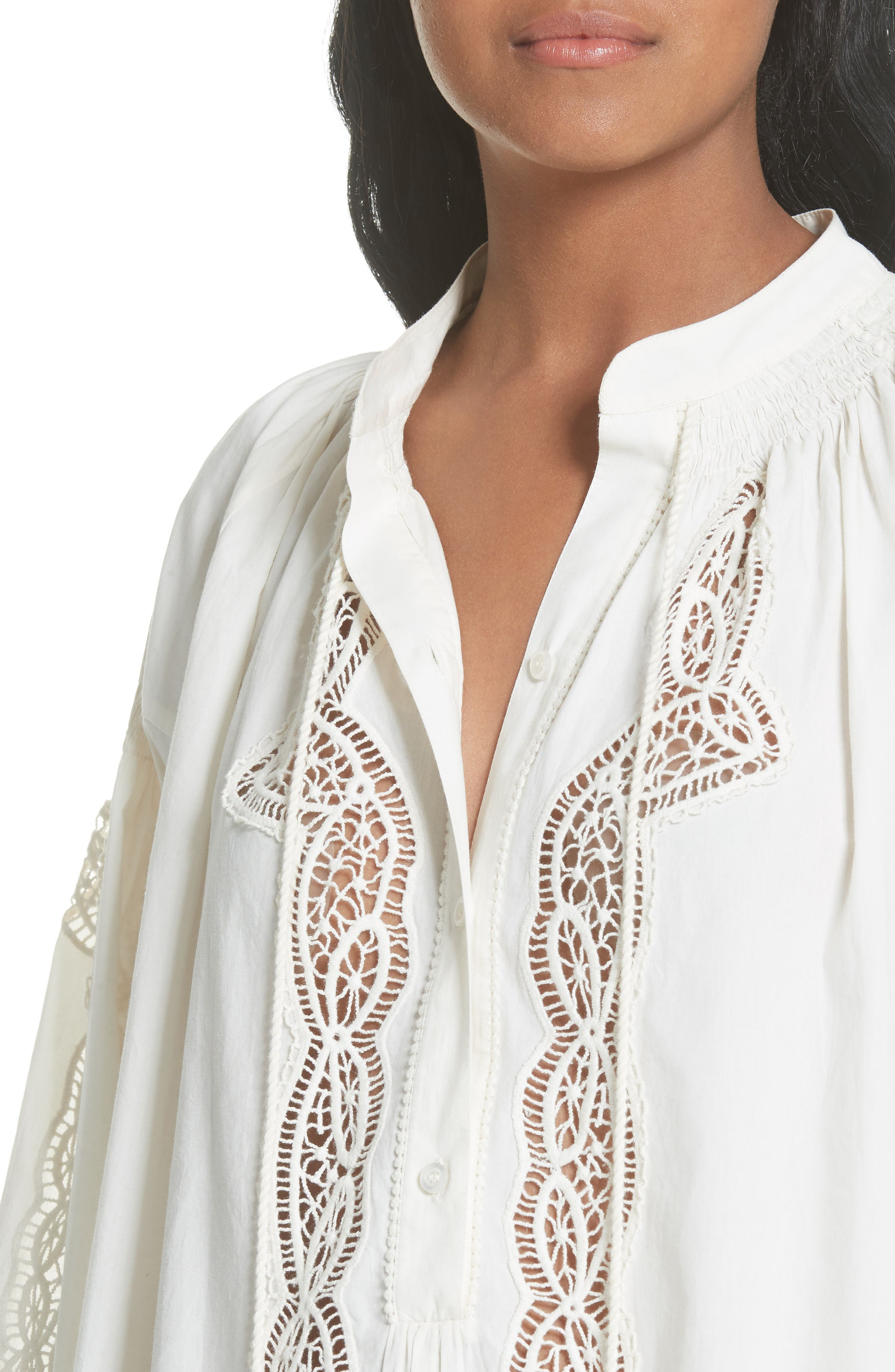 Kimberly Lace Trim Blouse,                             Alternate thumbnail 5, color,                             New Ivory