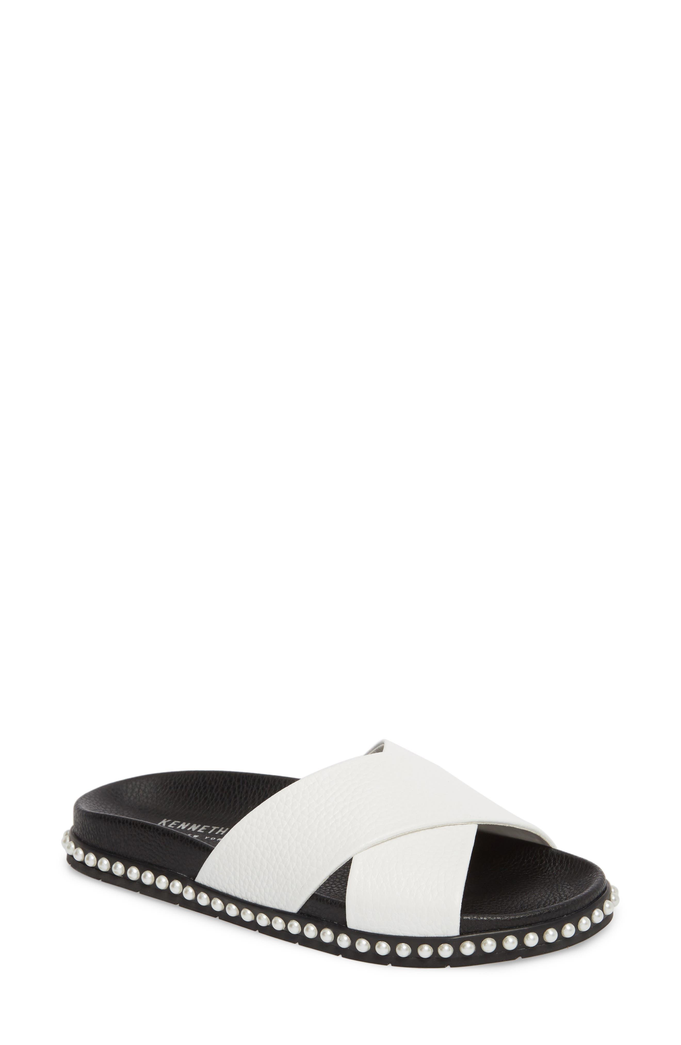 Xiomana Slide Sandal,                             Main thumbnail 1, color,                             White Leather