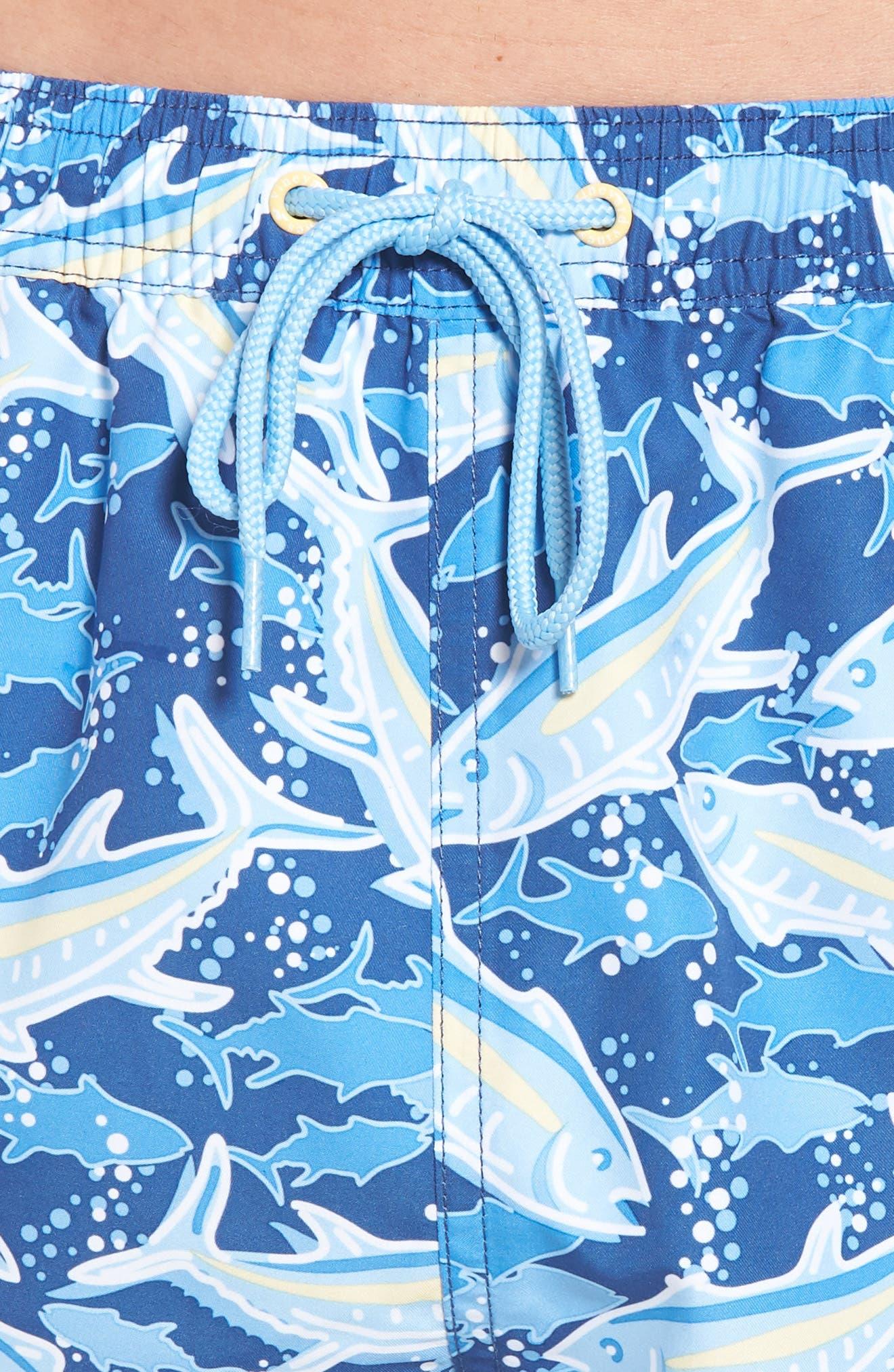 Chappy School of Tuna Swim Trunks,                             Alternate thumbnail 4, color,                             Moonshine