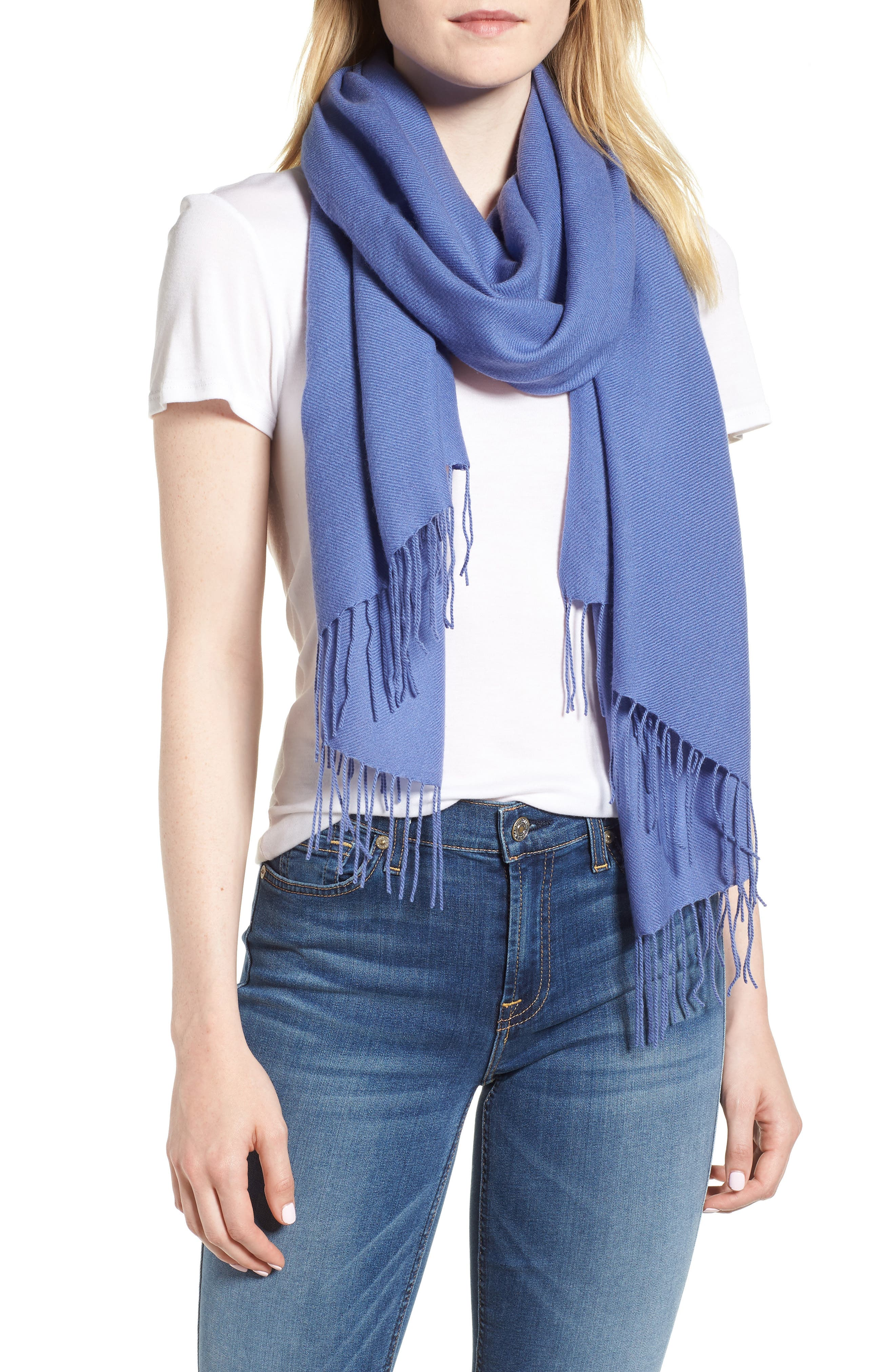 Tissue Weight Wool & Cashmere Scarf,                         Main,                         color, Blue Denim