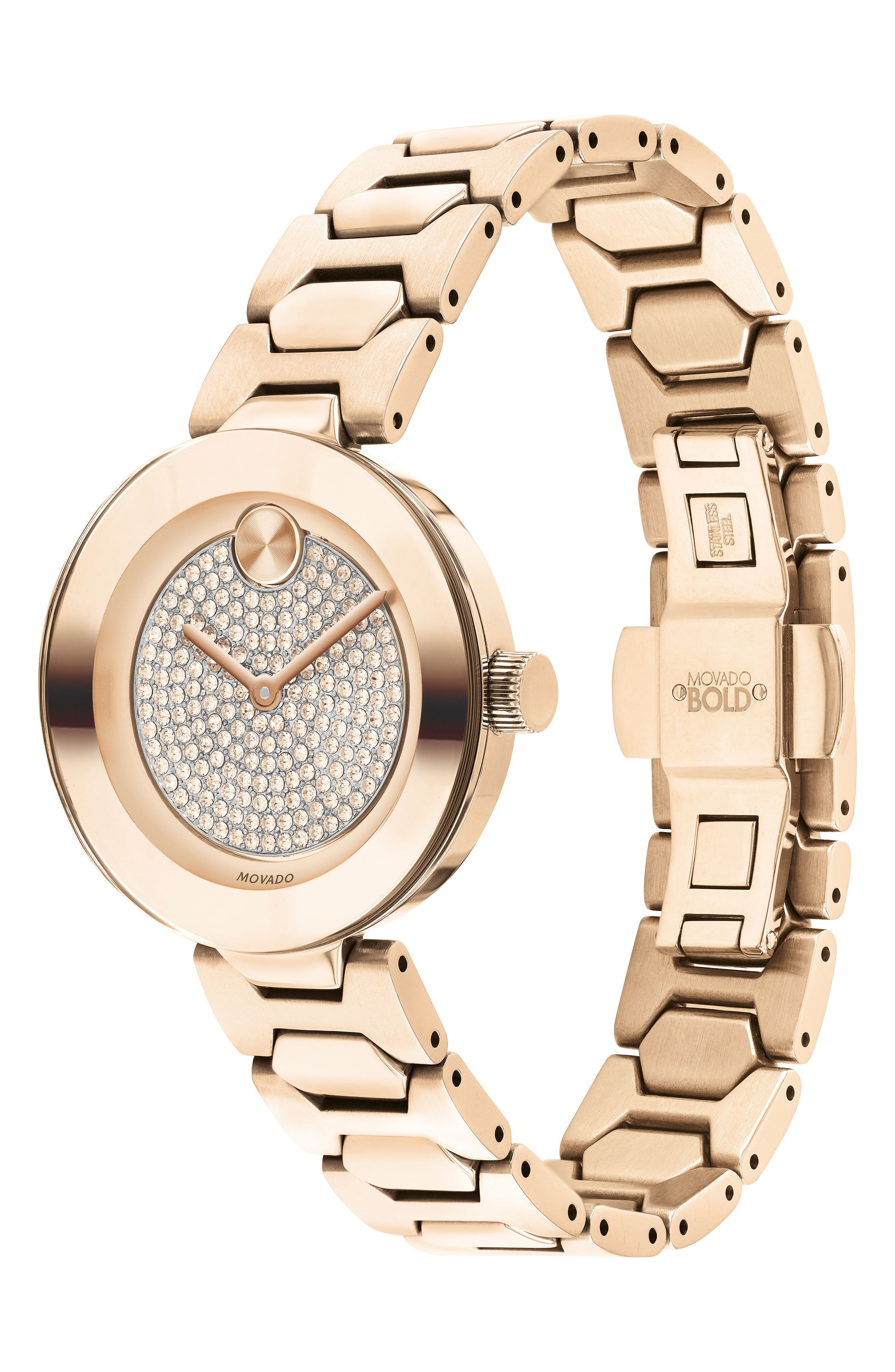 Bold Pavé T-Bar Bracelet Watch, 32mm,                             Alternate thumbnail 3, color,                             Rose Gold