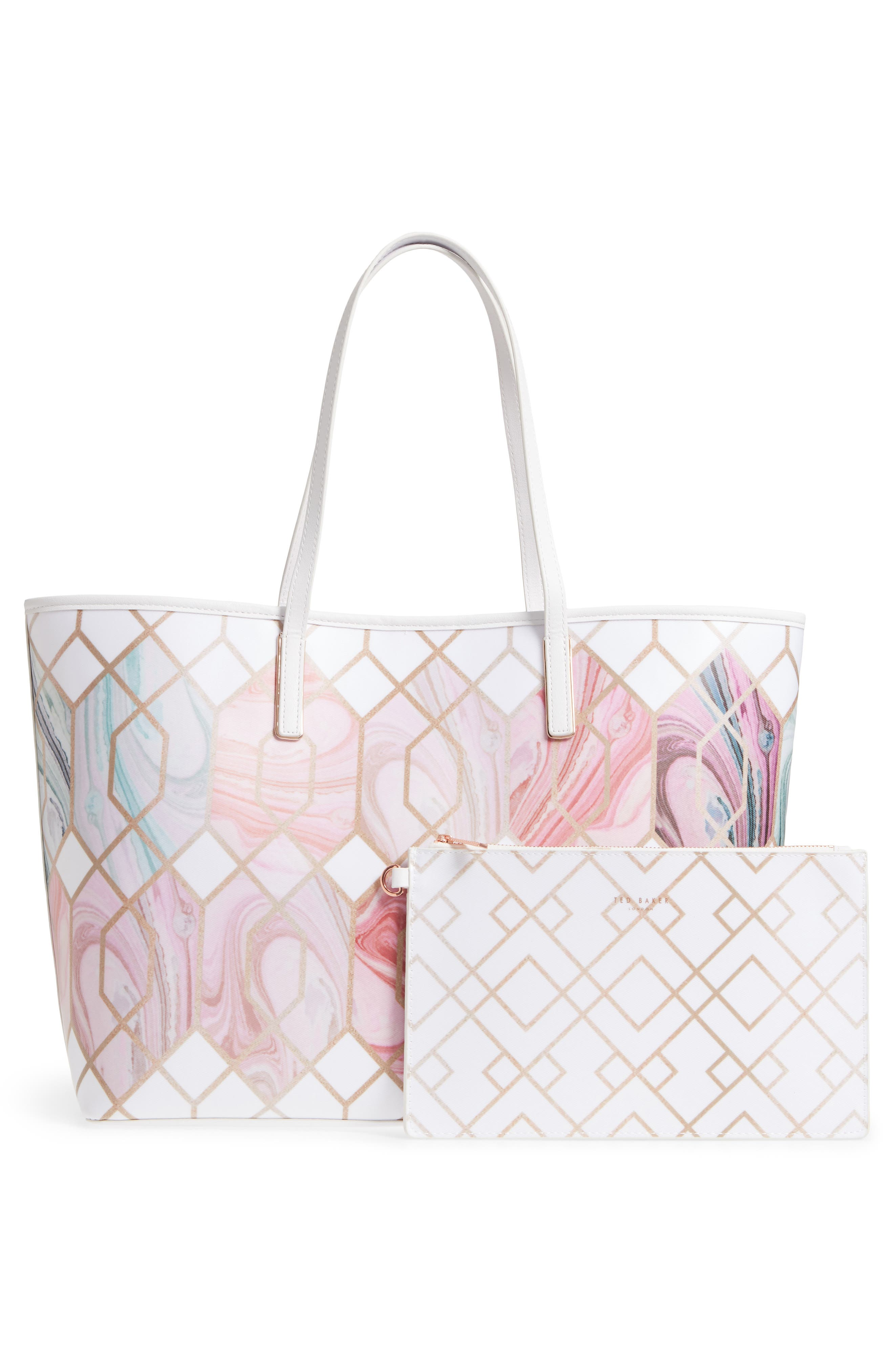 Aamy Sea of Clouds Bloom Canvas Tote,                             Alternate thumbnail 3, color,                             White