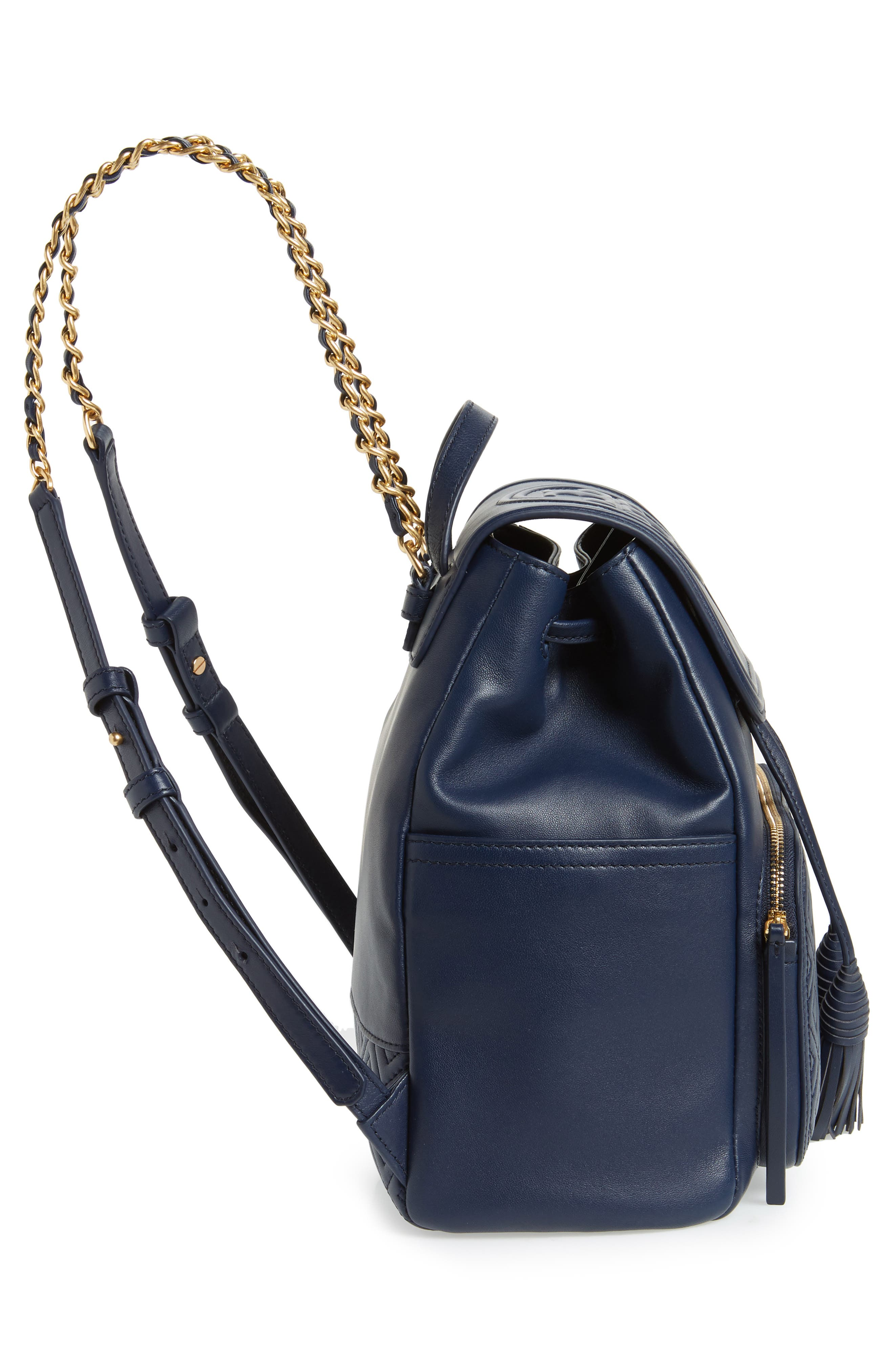 Fleming Lambskin Leather Backpack,                             Alternate thumbnail 5, color,                             Royal Navy