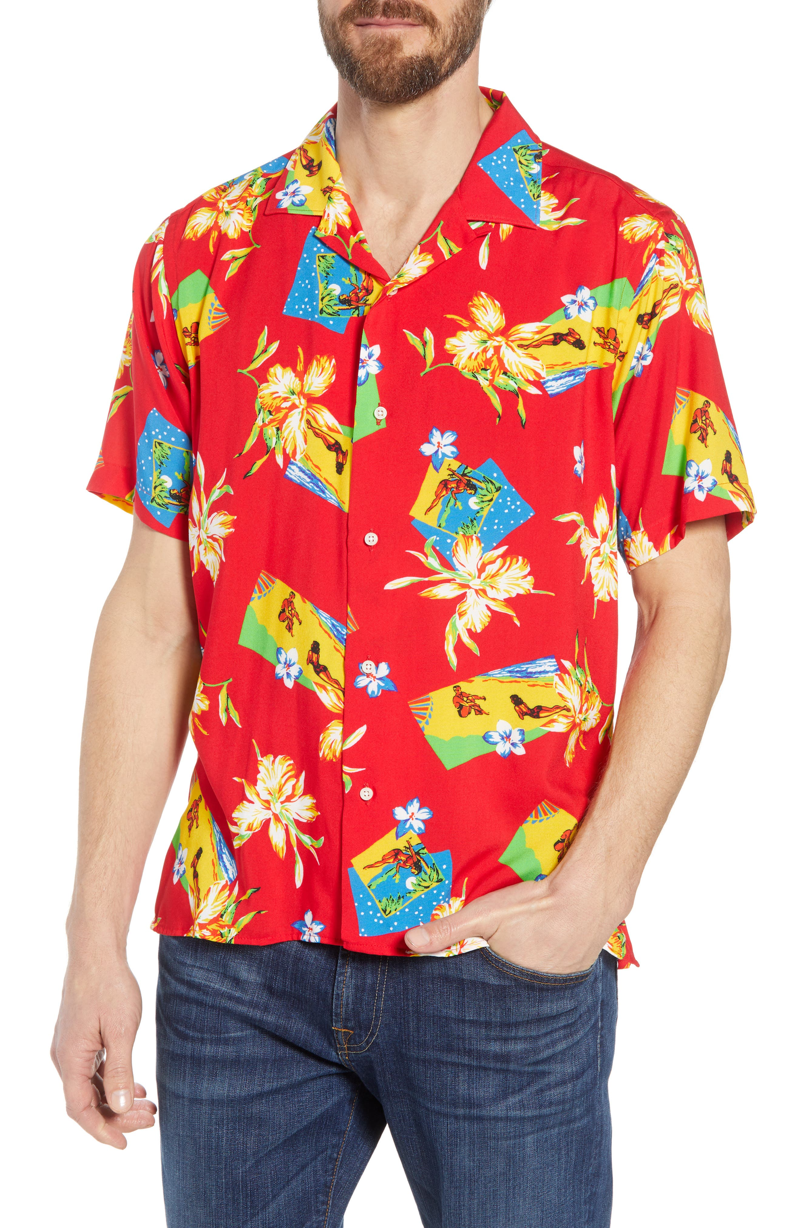 Print Camp Shirt,                         Main,                         color, Red Aloha