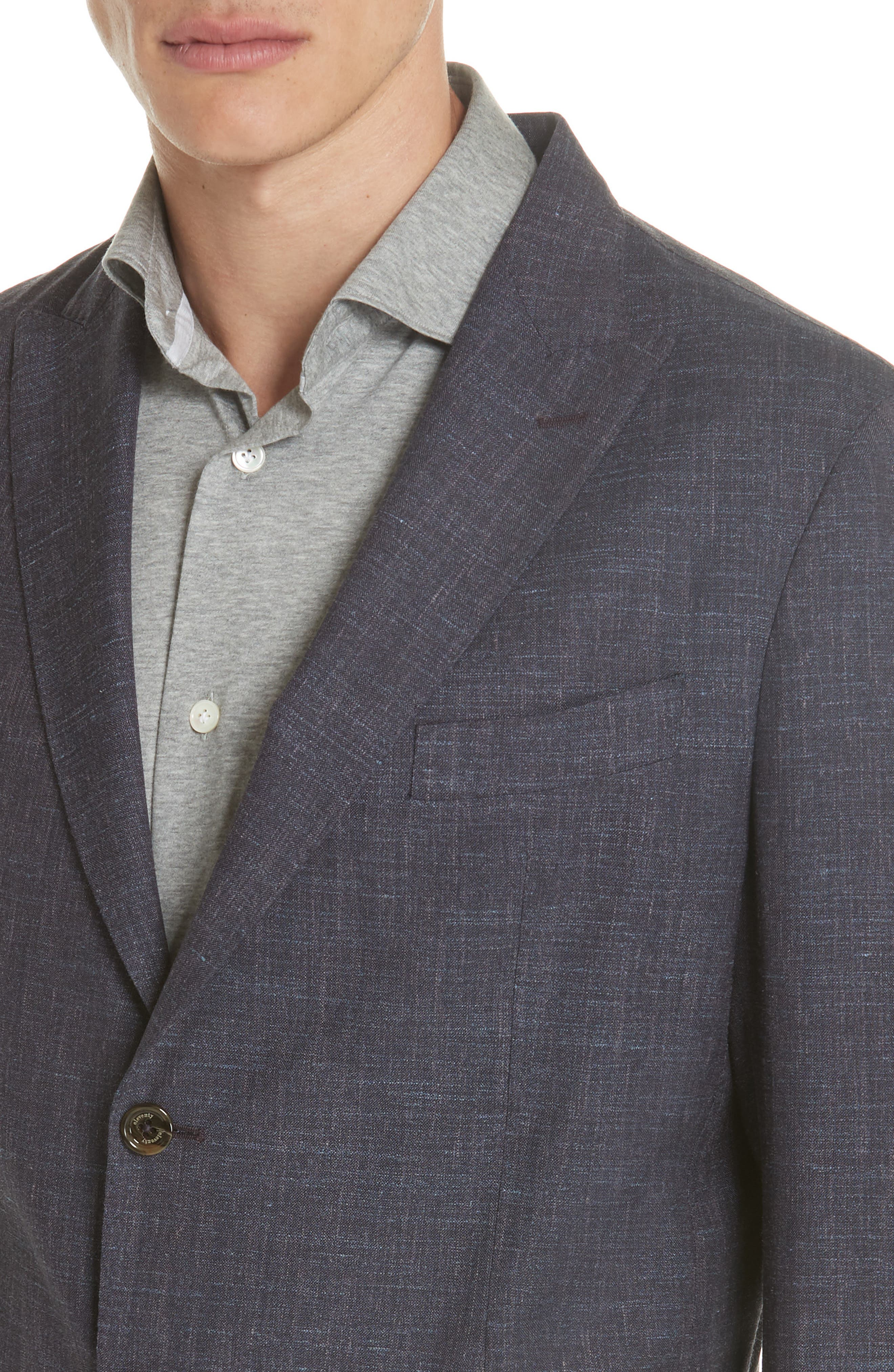 Trim Fit Wool Blend Blazer,                             Alternate thumbnail 4, color,                             Ink