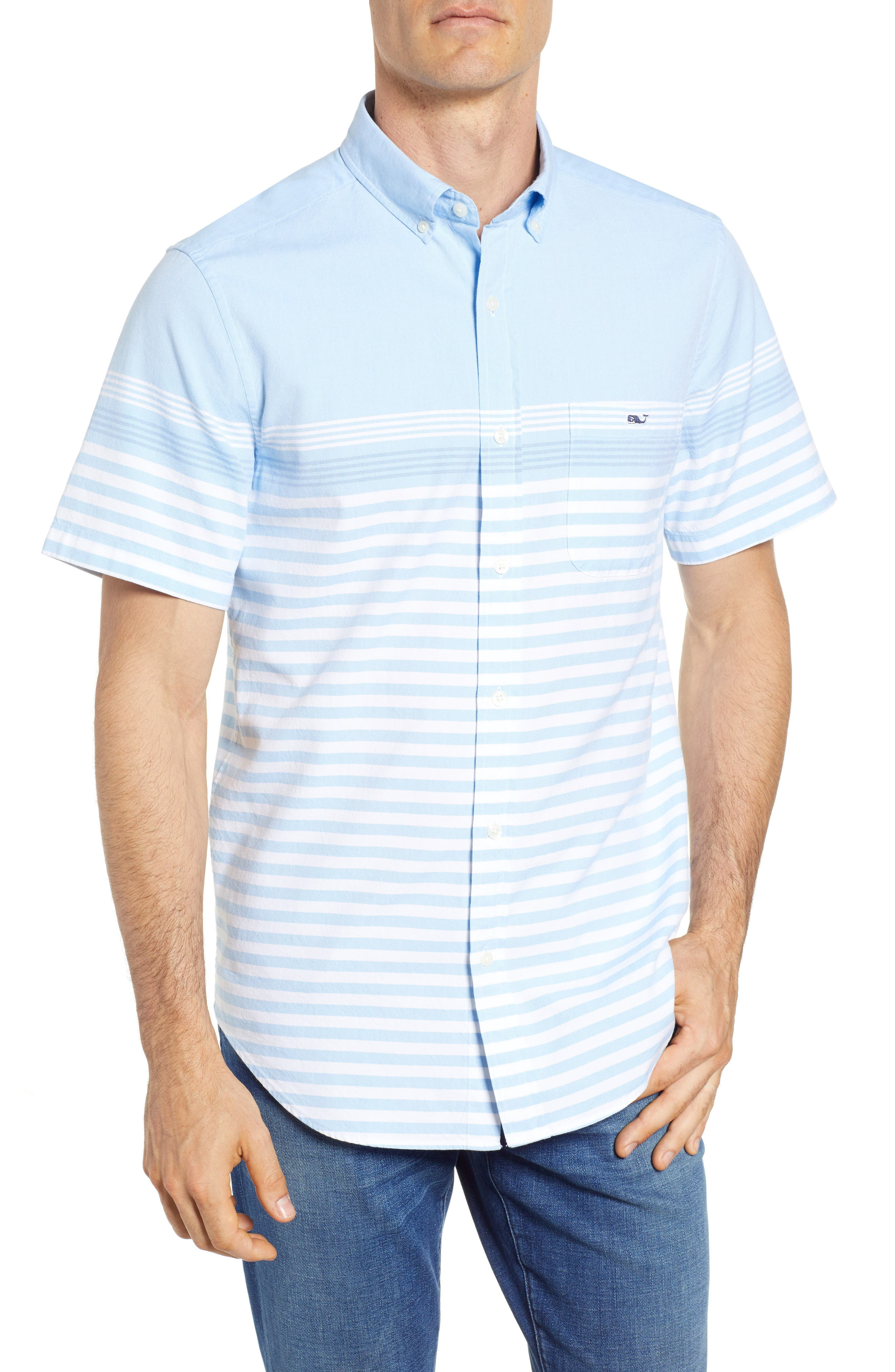 Sea Mist Stretch Short Sleeve Sport Shirt,                         Main,                         color, Ocean Breeze