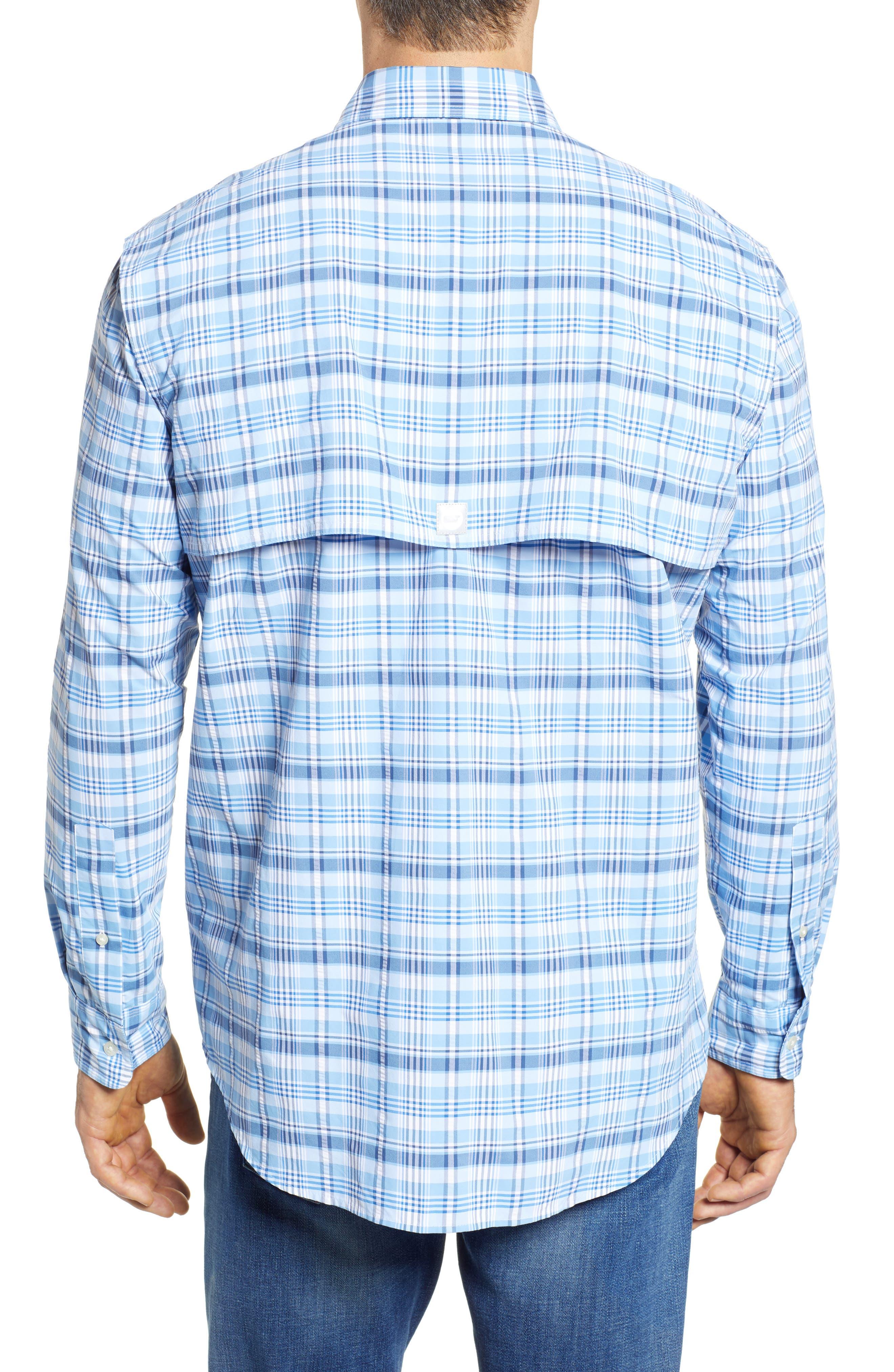 Prospect Hill Harbor Regular Fit Plaid Performance Sport Shirt,                             Alternate thumbnail 3, color,                             Ocean Breeze