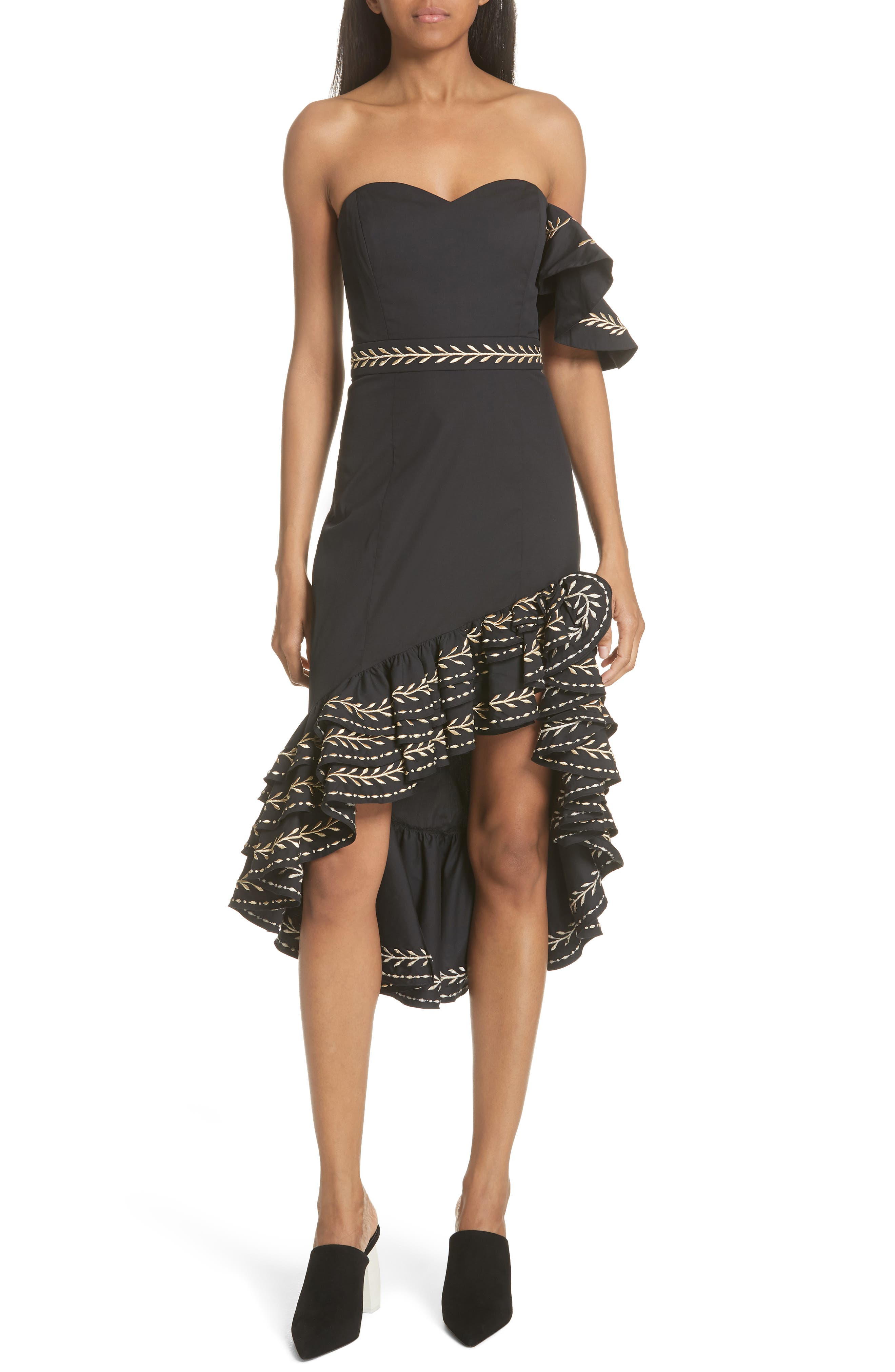 Cam Embroidered Asymmetrical Ruffle Dress,                         Main,                         color, Black/ Gold