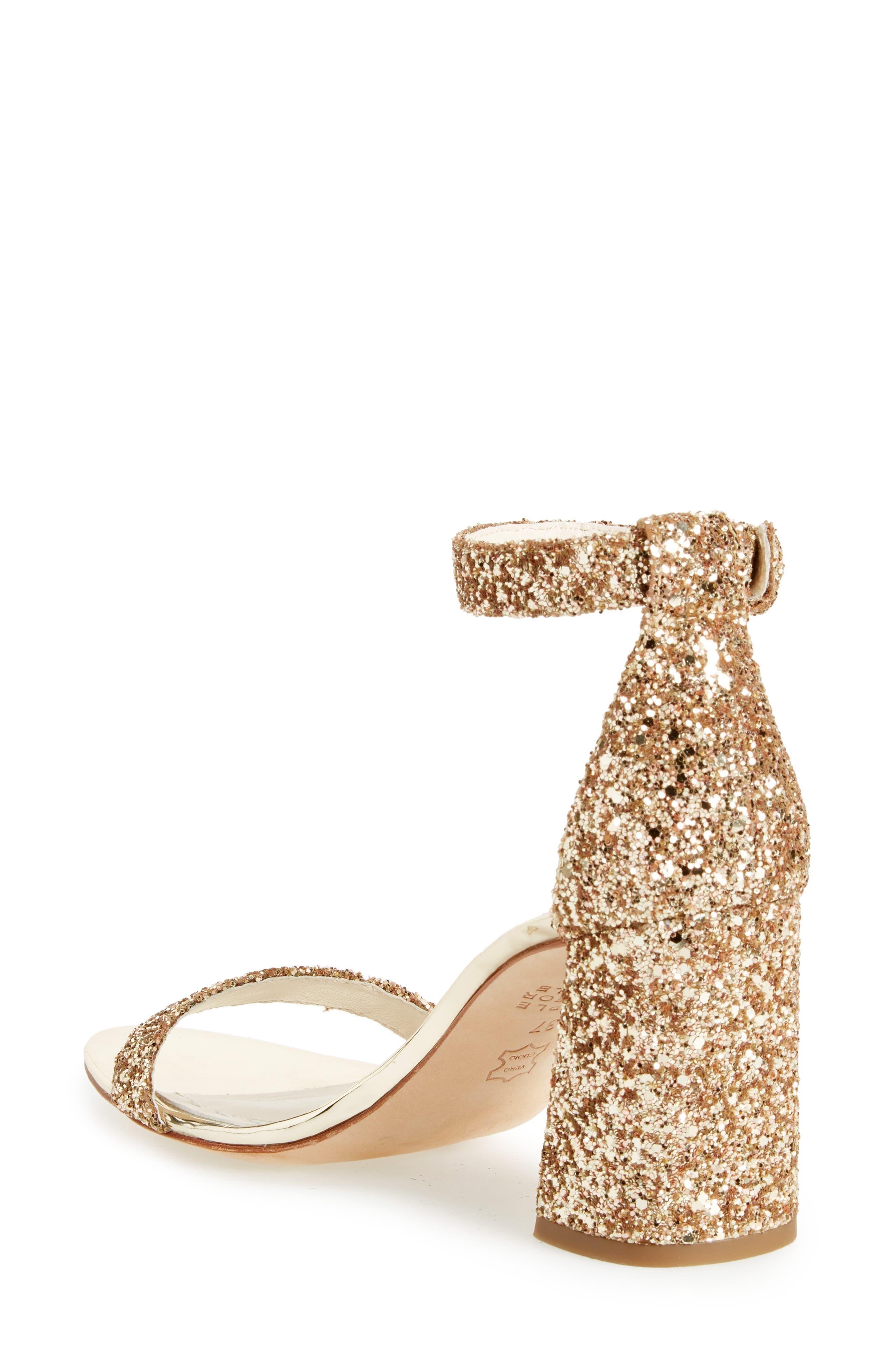 Lillian Glitter Ankle Strap Sandal,                             Alternate thumbnail 2, color,                             Gold