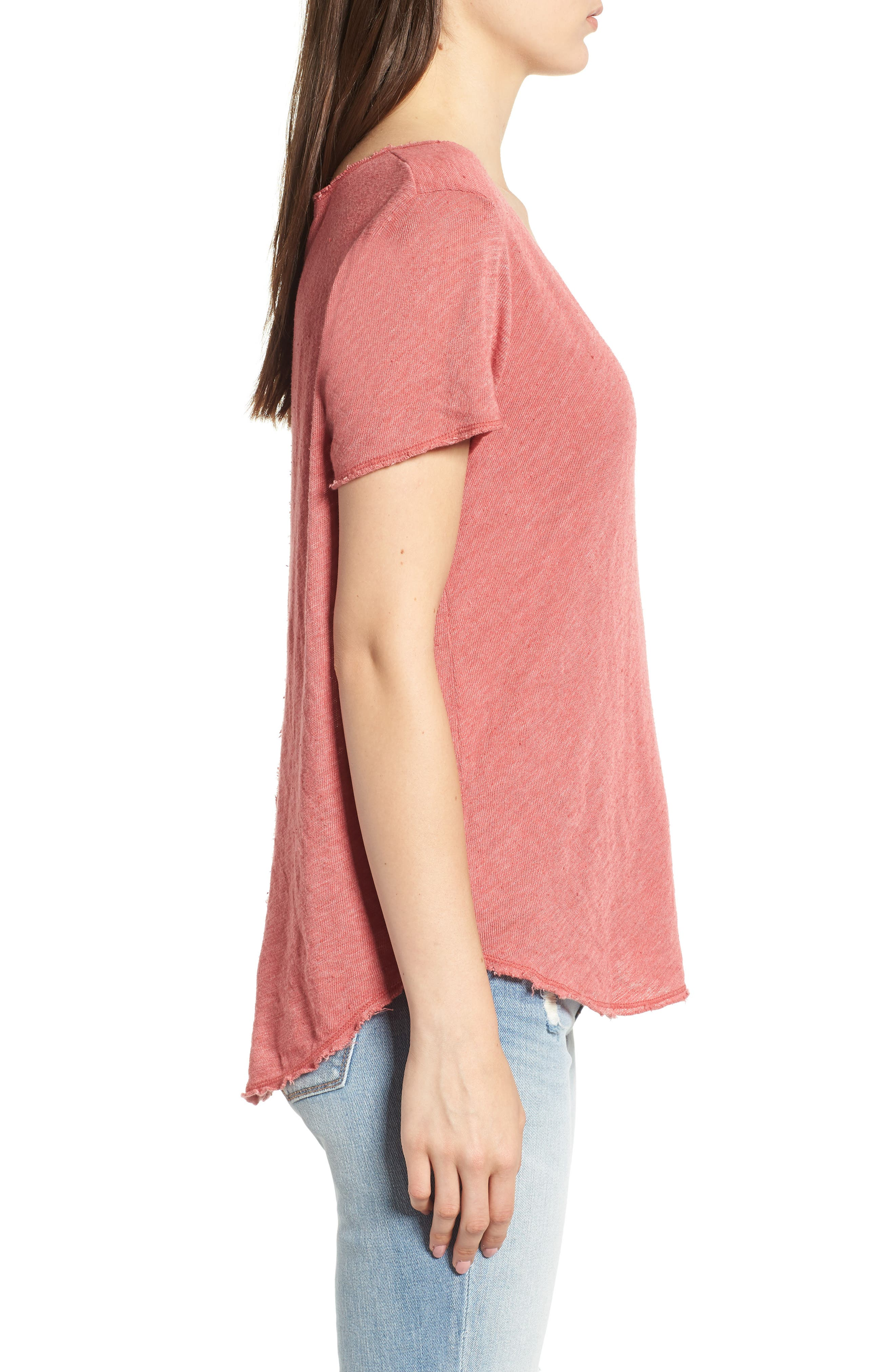 V-Neck Tee,                             Alternate thumbnail 3, color,                             Strawberry Rouge