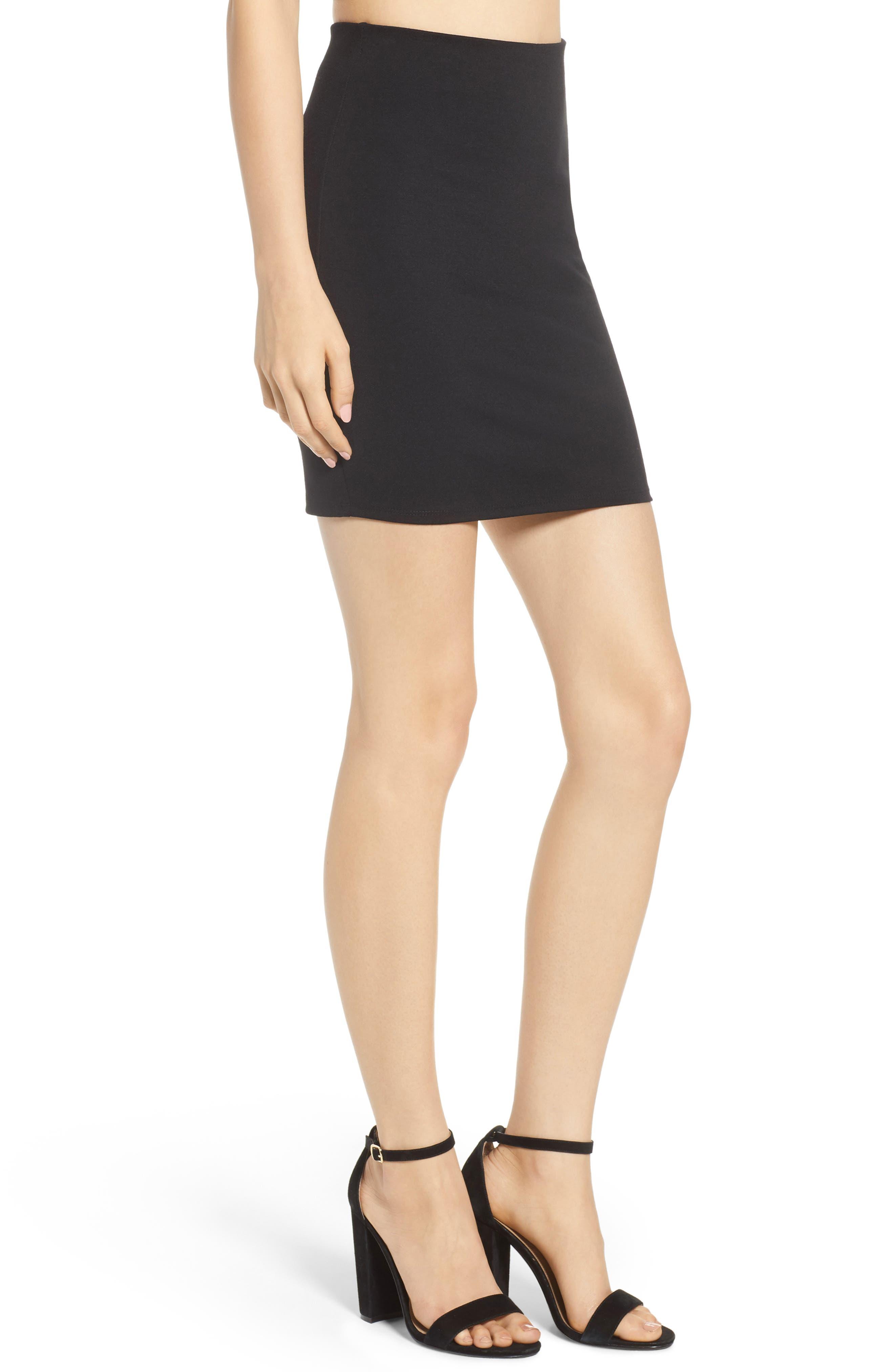 Stretch Ponte Mini Skirt,                             Alternate thumbnail 4, color,                             Black