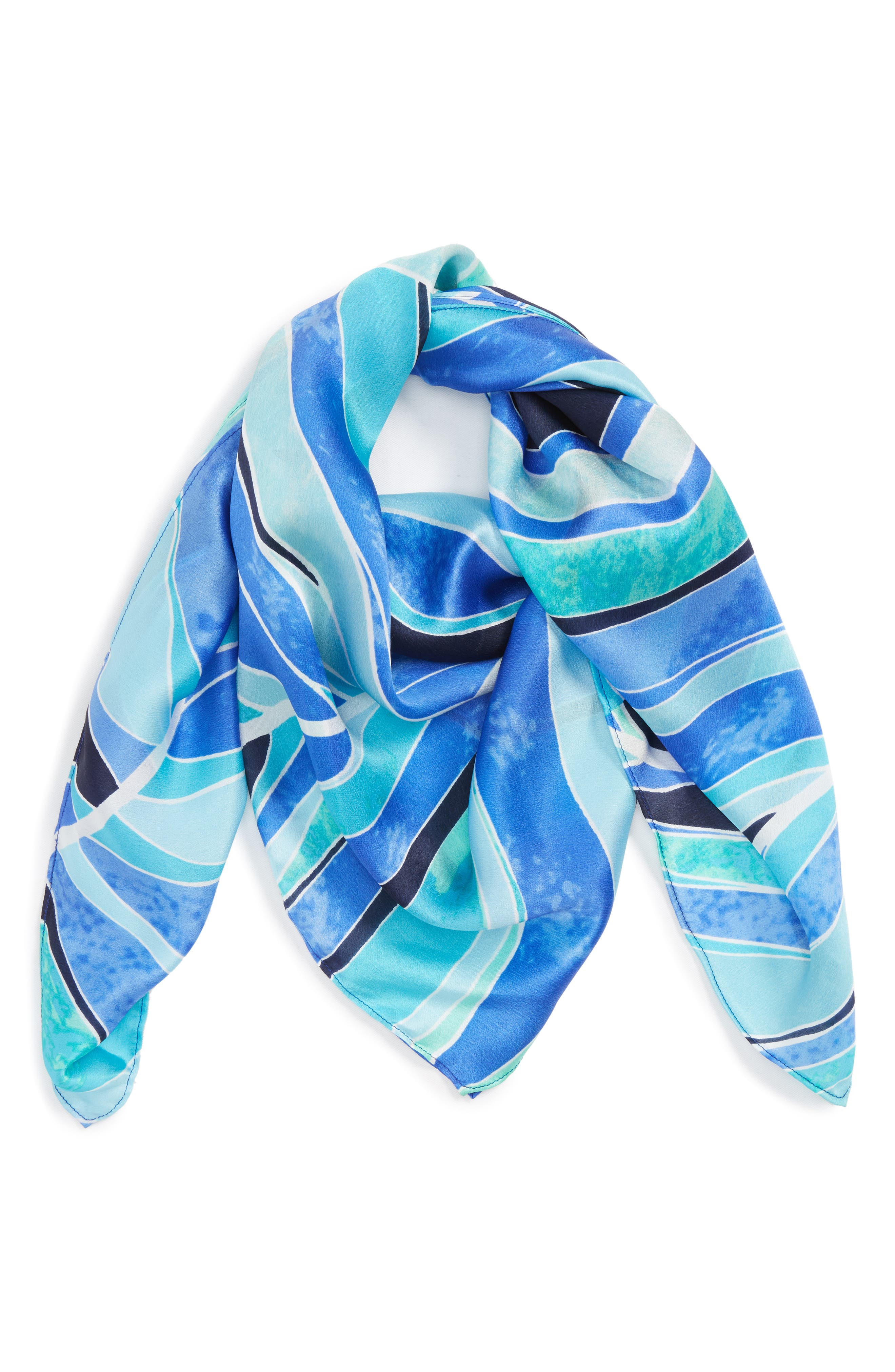 Print Silk Scarf,                         Main,                         color, Blue Stained Palm