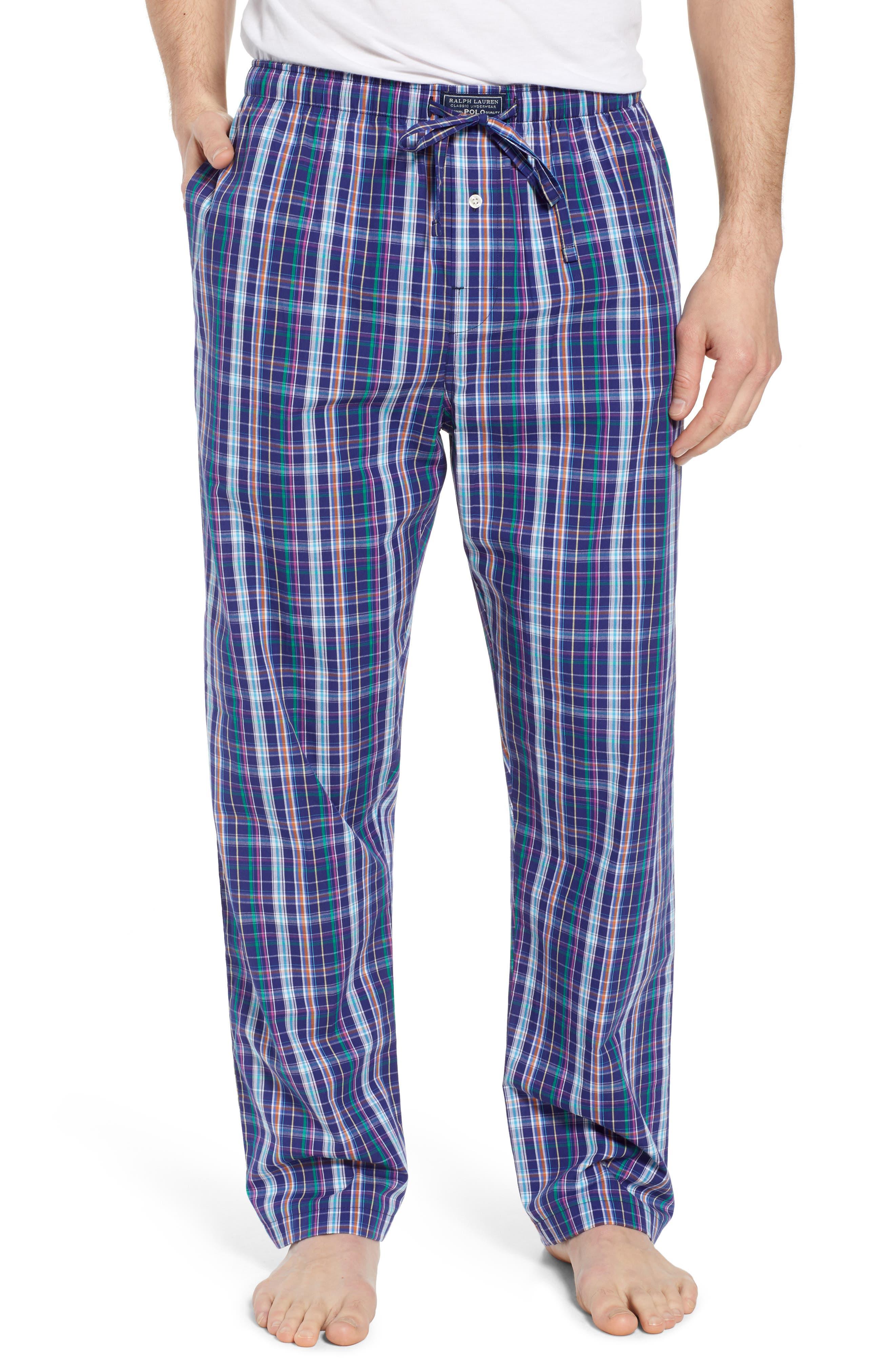 Cotton Lounge Pants,                         Main,                         color, Alton Plaid/ May Orange