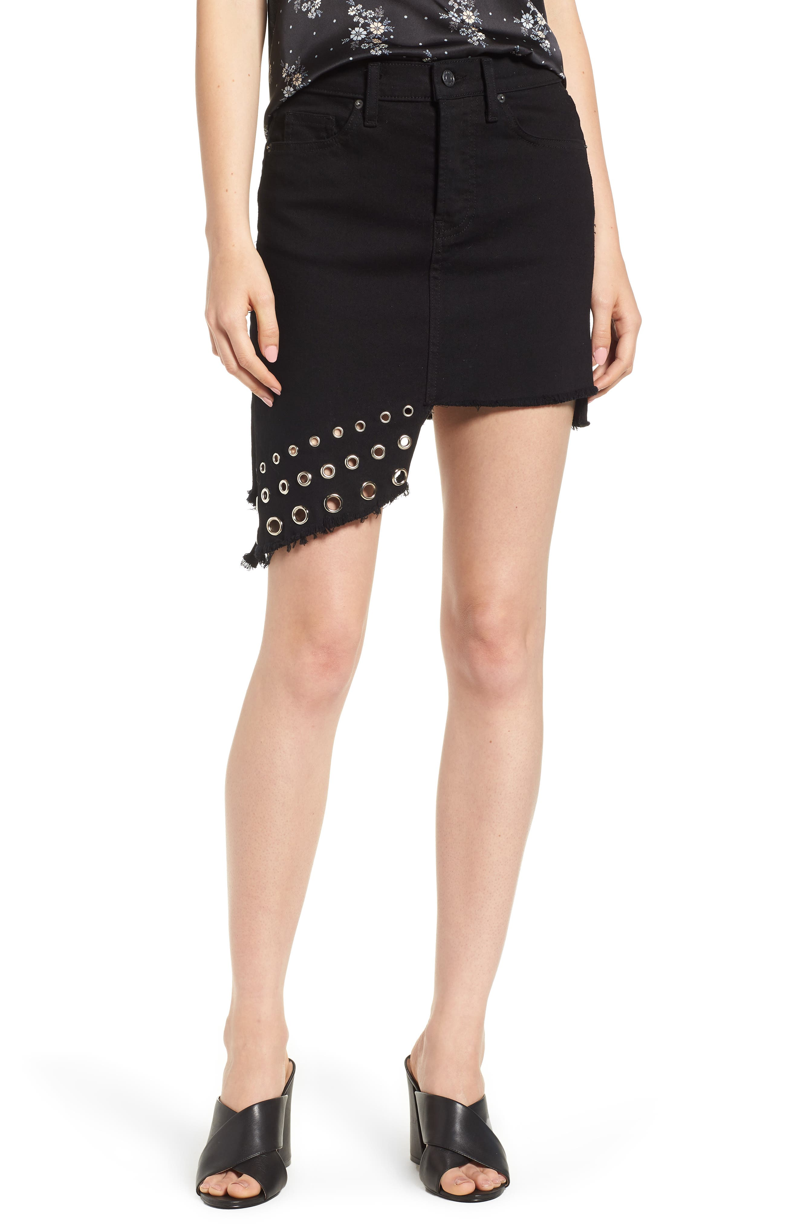 The Super Star Asymmetrical Miniskirt,                             Main thumbnail 1, color,                             Black Denim