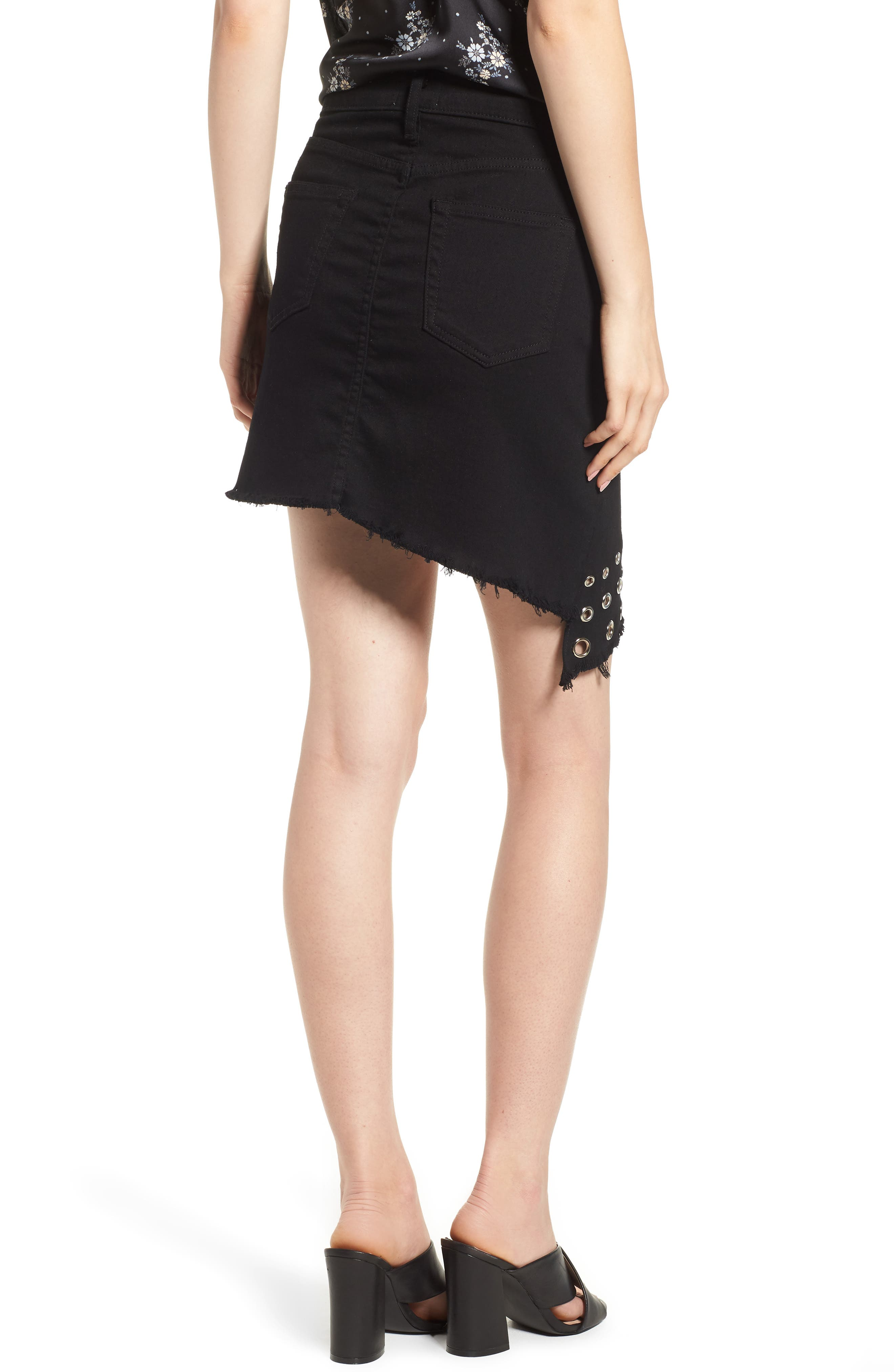 The Super Star Asymmetrical Miniskirt,                             Alternate thumbnail 2, color,                             Black Denim