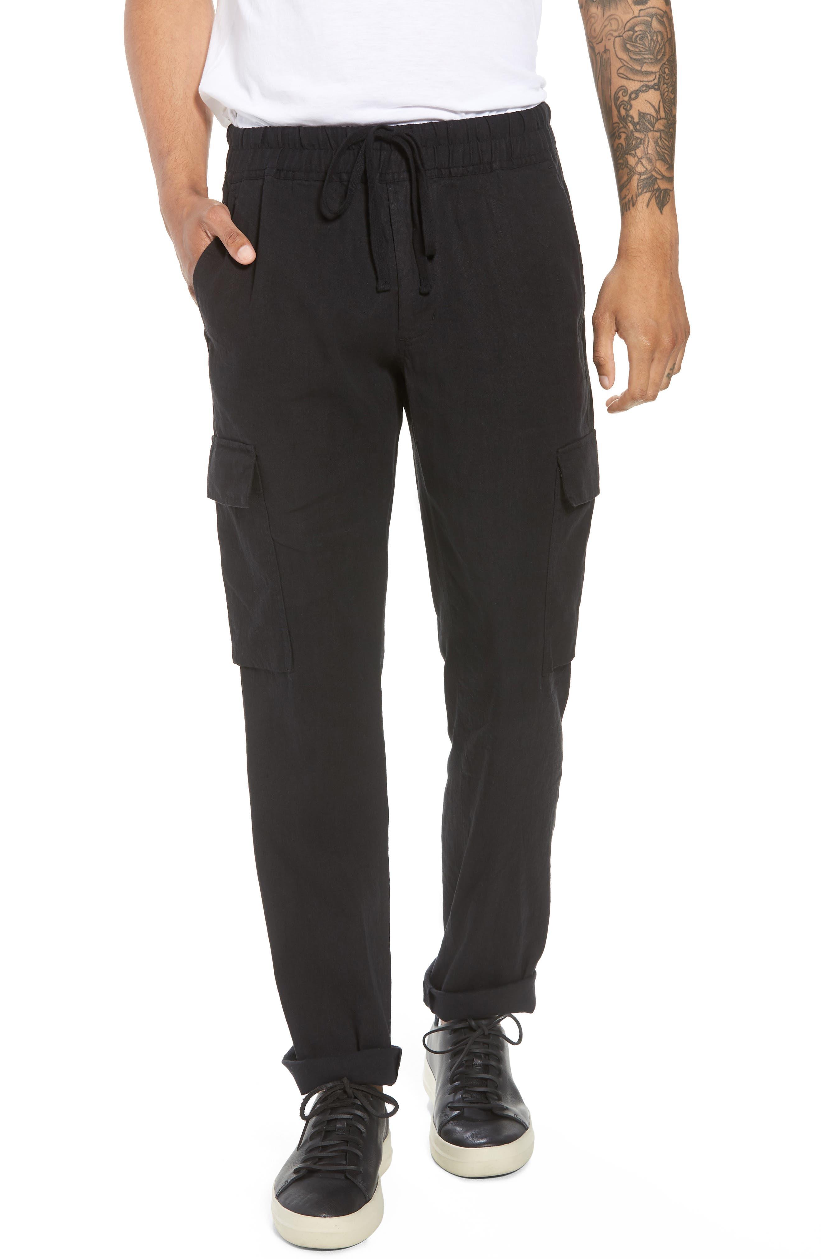 Stretch Linen & Cotton Cargo Pants,                             Main thumbnail 1, color,                             Black