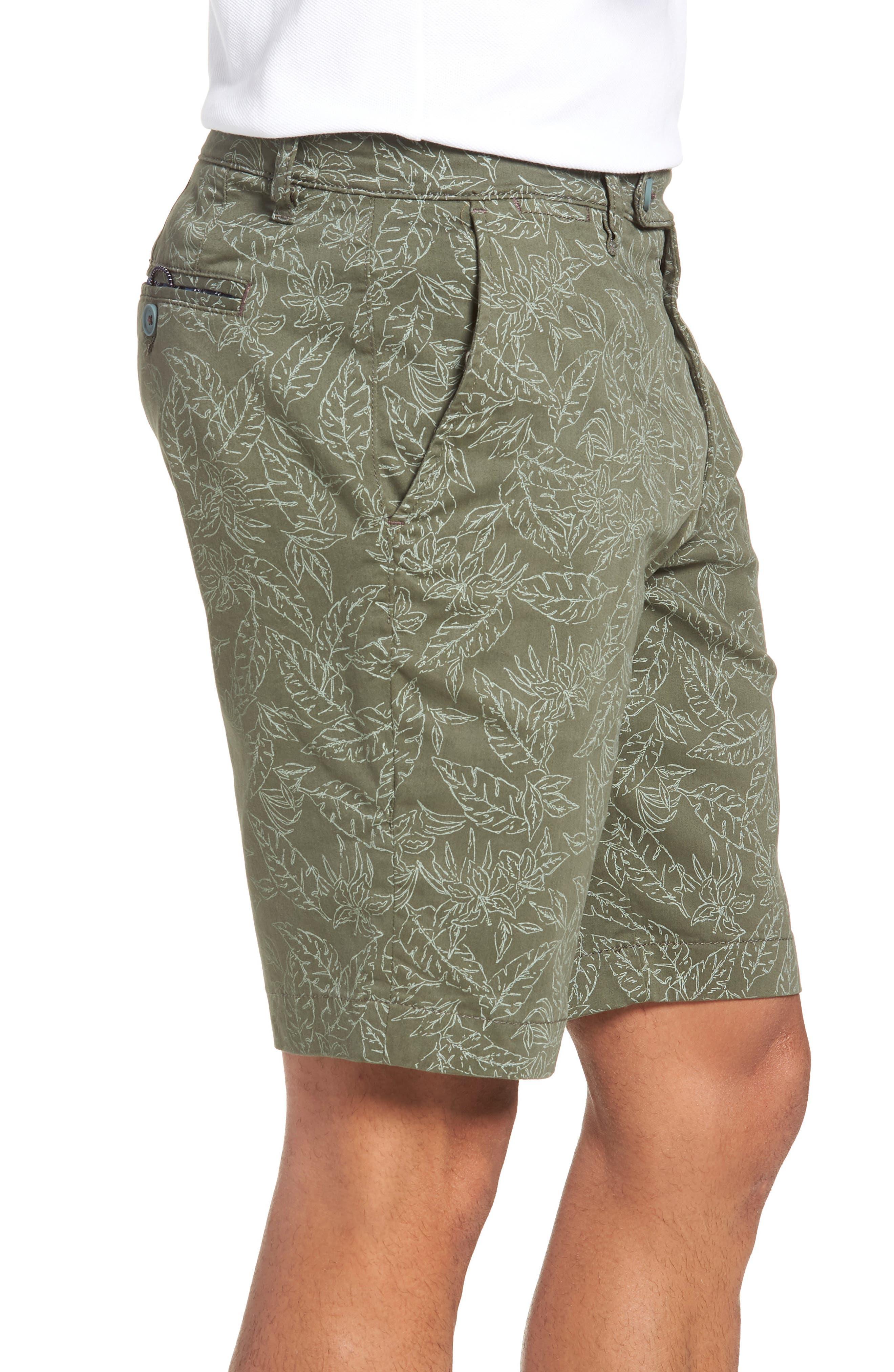 Leaf Print Shorts,                             Alternate thumbnail 3, color,                             Green
