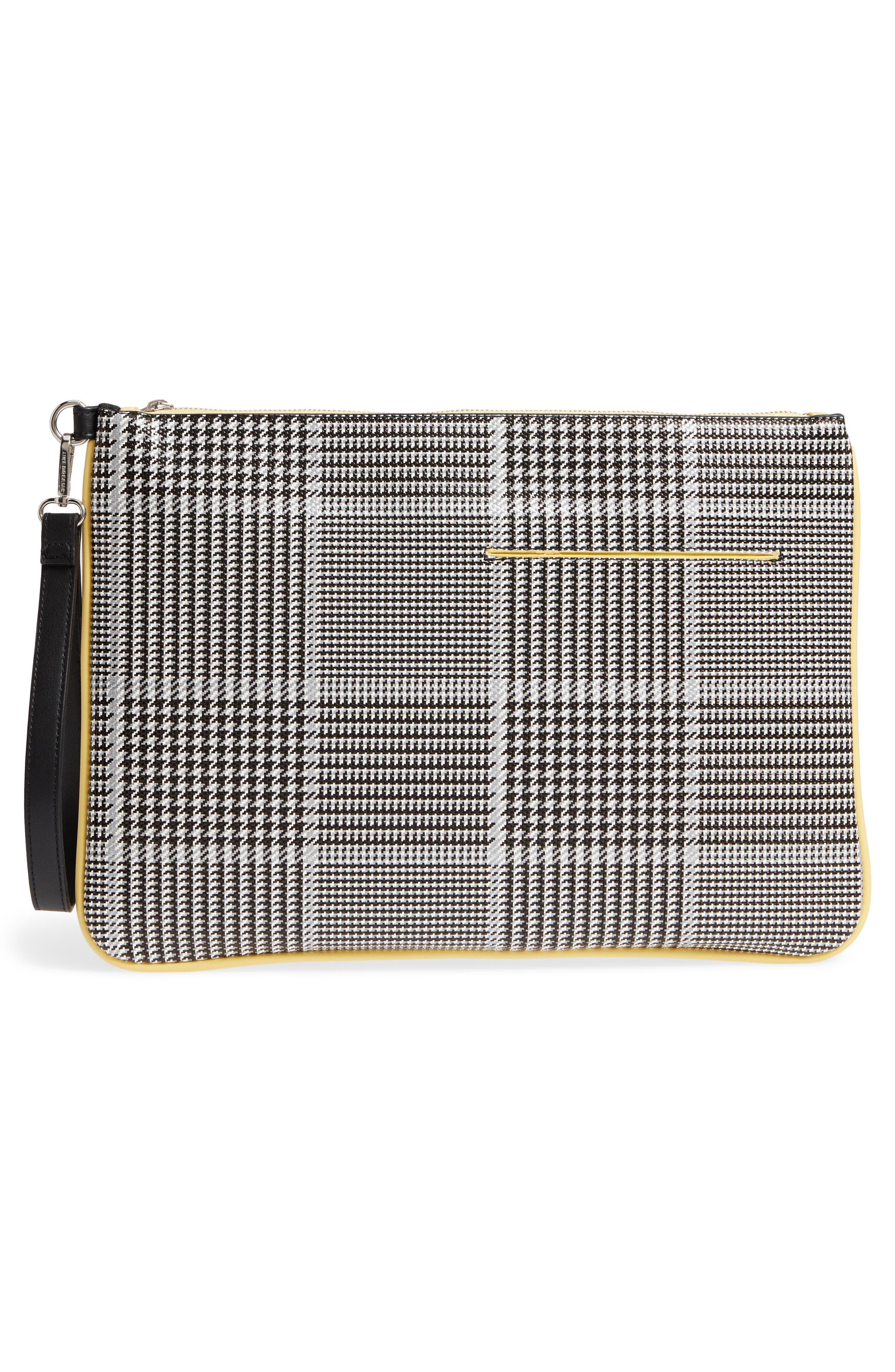 Prince of Wales Check Clutch,                             Alternate thumbnail 3, color,                             Black Multi