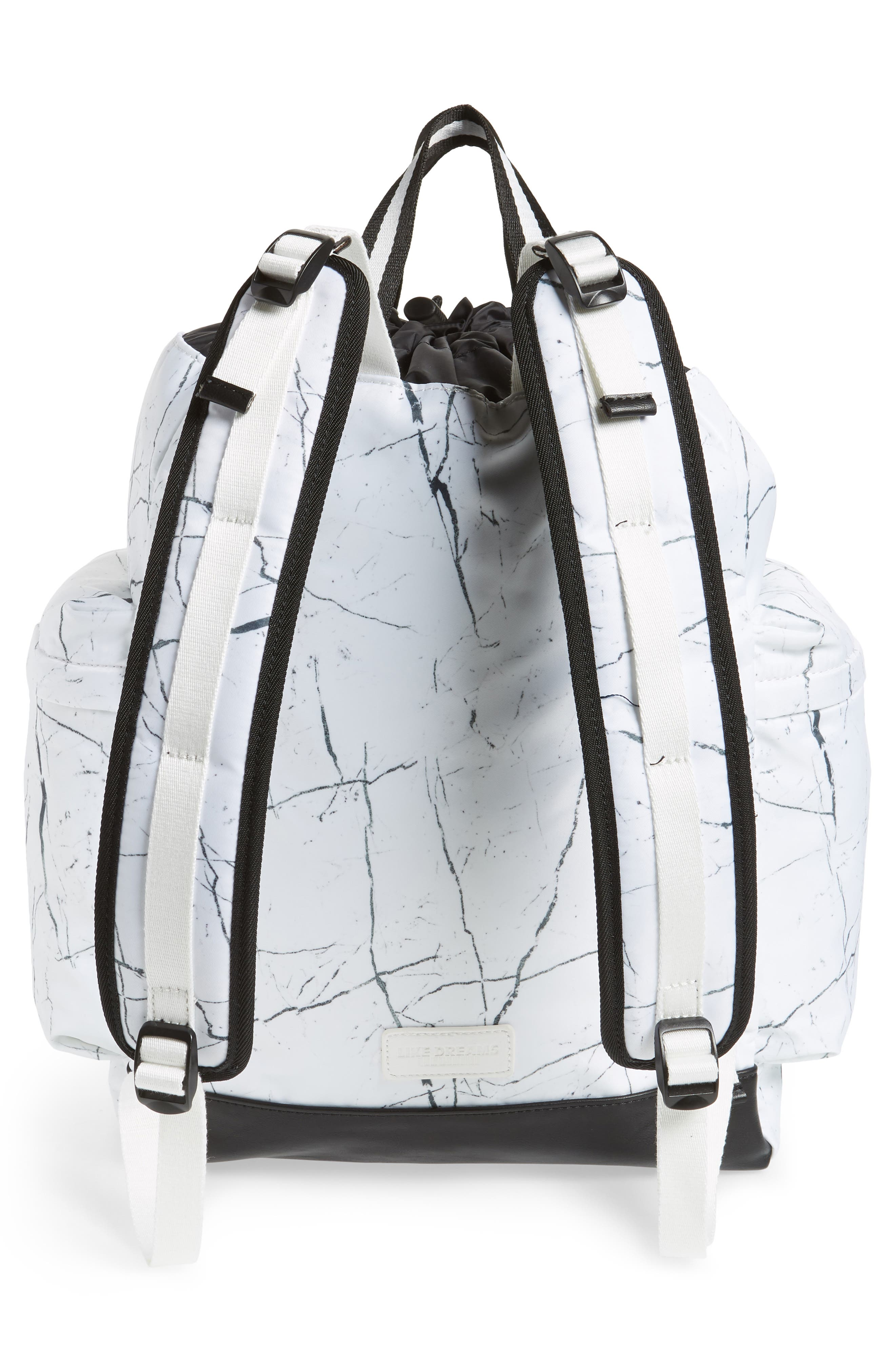 Theo Marble Print Backpack,                             Alternate thumbnail 3, color,                             White Marble