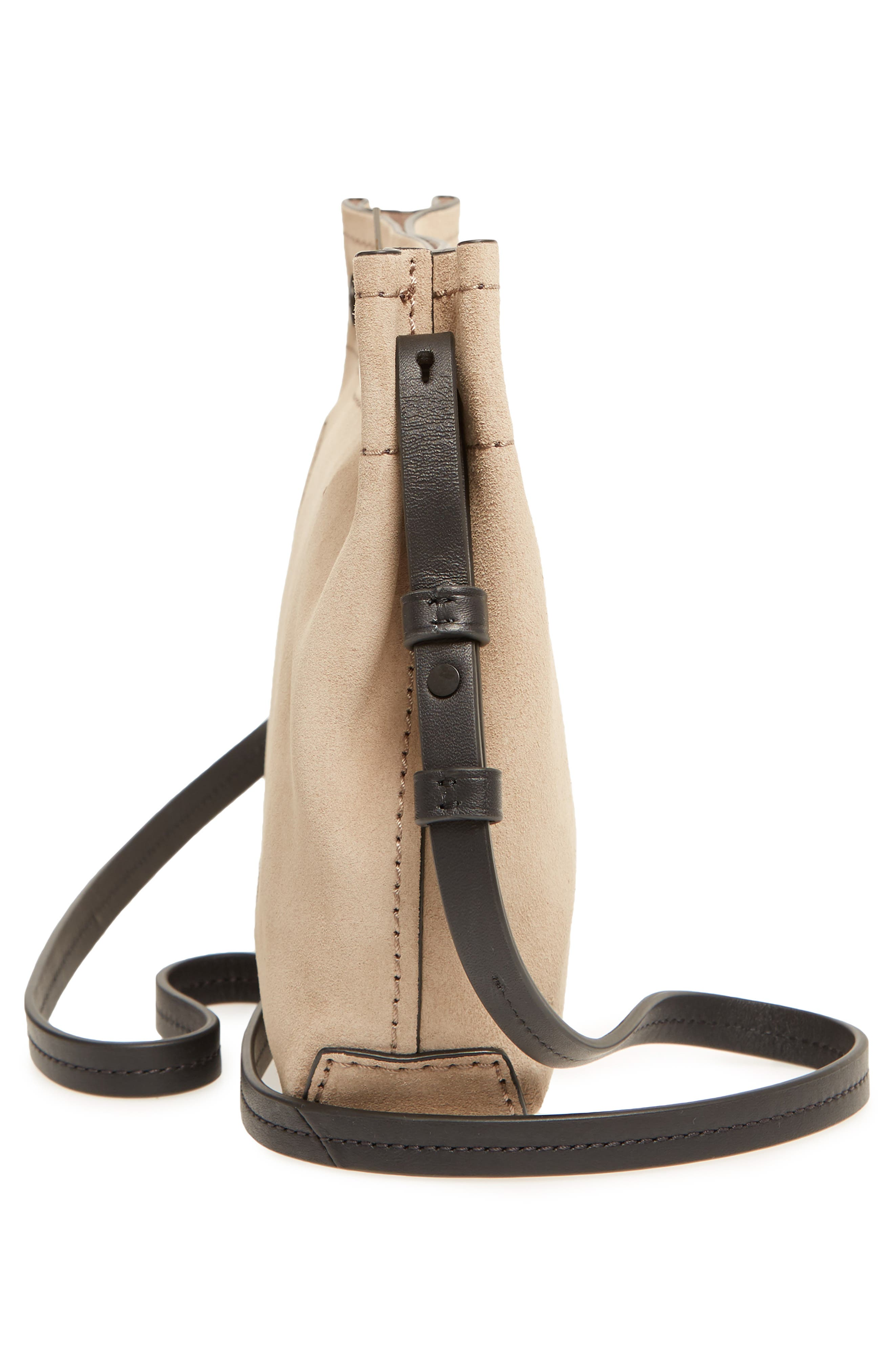 Compass Leather Crossbody Bag,                             Alternate thumbnail 5, color,                             Warm Grey Suede